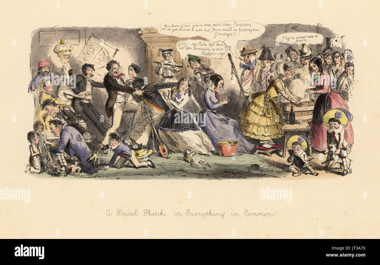 A Social Sketch, or Everything in Common 1850. Satirical print of social unrest after a revolution. A black banjo player attacked by the men of the house for talking to a lady. Ladies forced to wash clothes and peel potatoes, coarse peasants in the drawing room, etc. Handcoloured etching by John Leech from Follies of the Year, from Punch's Pocket Books, Bradbury, London, 1864. - Stock Image