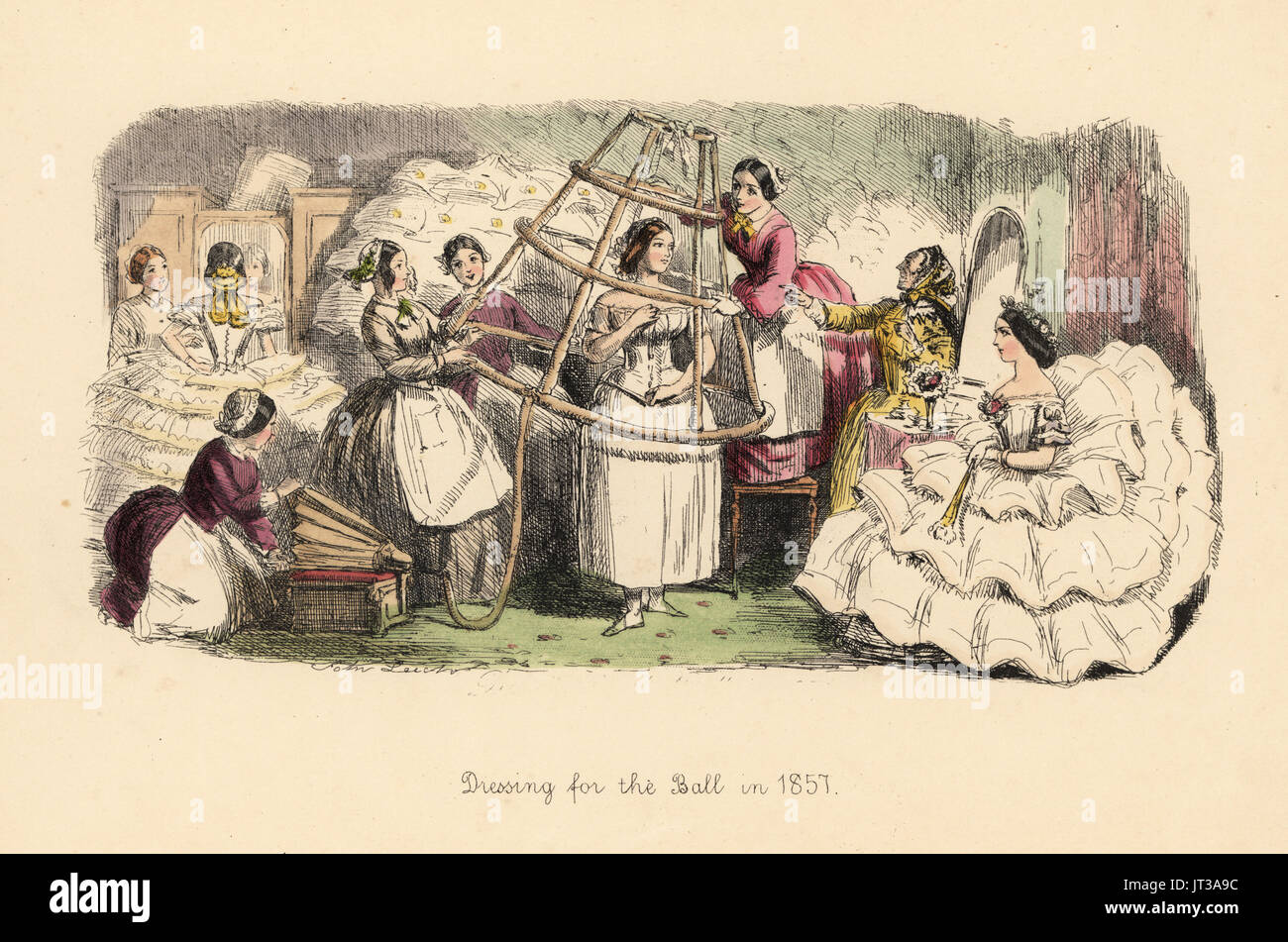 Dressing for the Ball in 1857. Woman being helped by maids into an inflatable hoop frame to support her crinoline dress. Handcoloured etching by John Leech from Follies of the Year, from Punch's Pocket Books, Bradbury, London, 1864. - Stock Image
