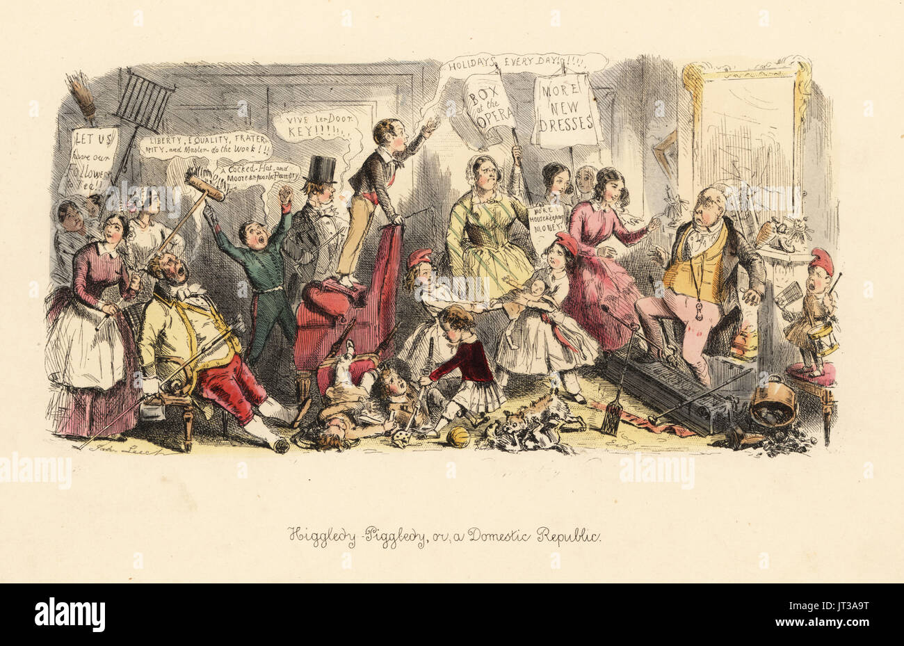 Higgledy-Piggledy, or a Domestic Republic 1849. Gentleman facing a revolt by his wife, children, housekeepper and servants. Handcoloured etching by John Leech from Follies of the Year, from Punch's Pocket Books, Bradbury, London, 1864. - Stock Image