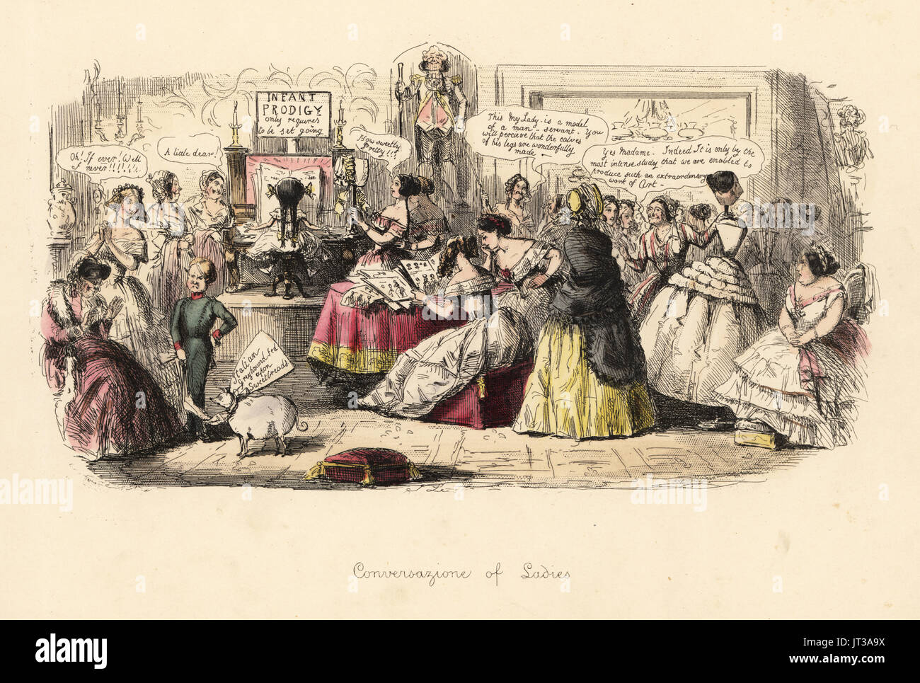 Conversavione of Ladies, 1848. Satirical print of ladies in a salon discussing fashion, children, dogs and man servants. Handcoloured etching by John Leech from Follies of the Year, from Punch's Pocket Books, Bradbury, London, 1864. - Stock Image