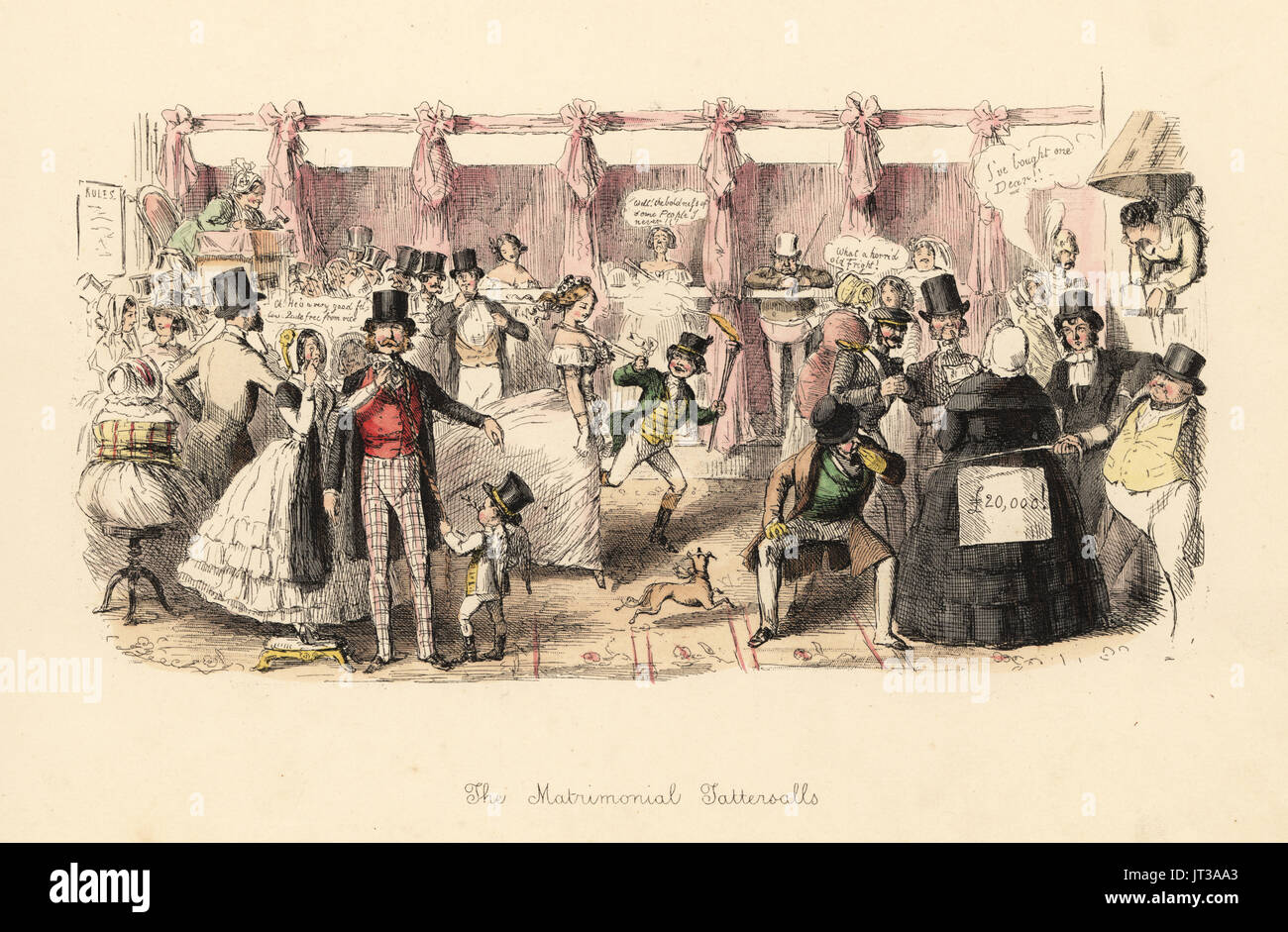 The Matrimonial Tattersalls, 1847. Satirical print of a market for brides and grooms in the style of Tattersalls horse market. Handcoloured etching by John Leech from Follies of the Year, from Punch's Pocket Books, Bradbury, London, 1864. - Stock Image