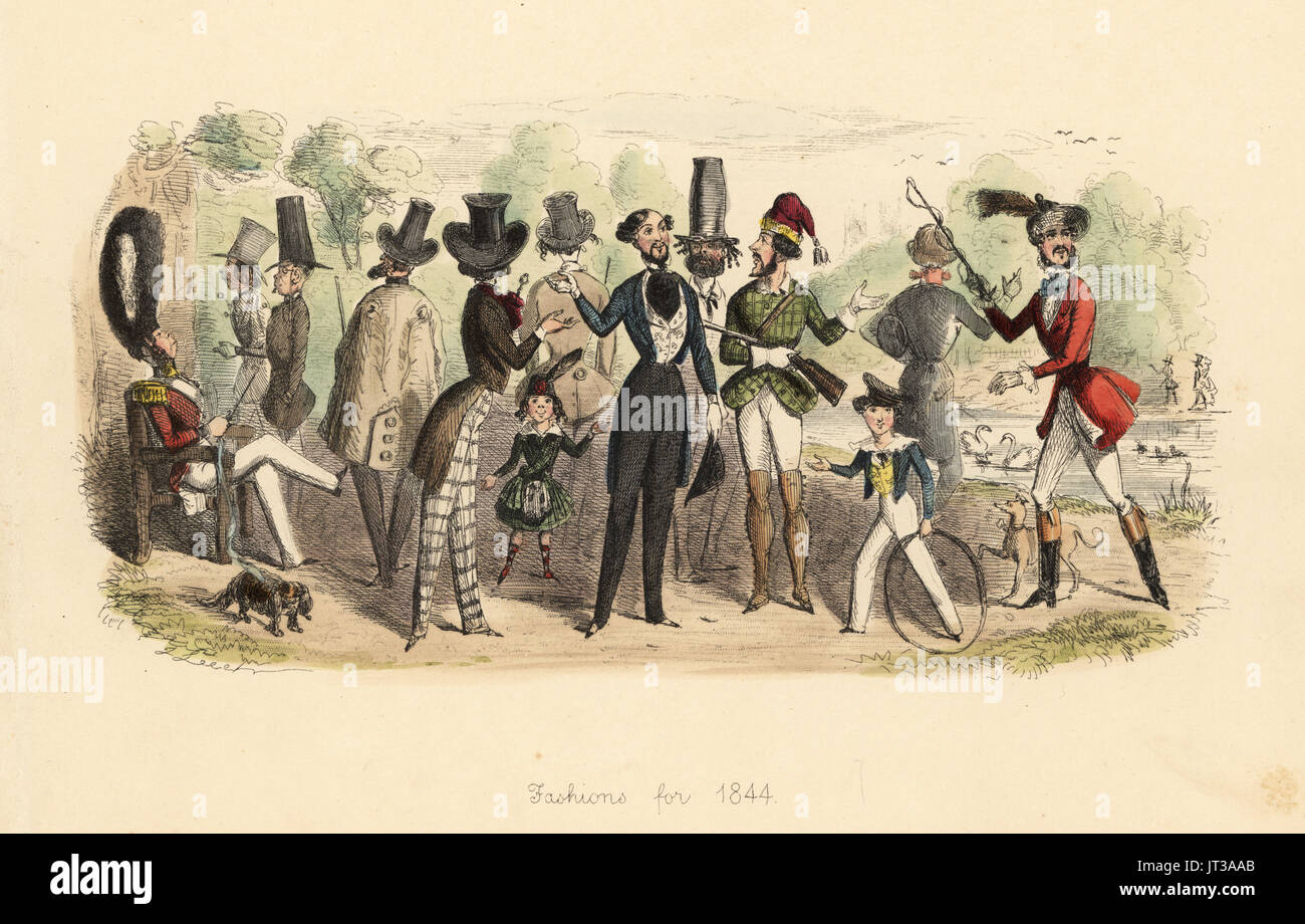Fashions for 1844. Group of men in a park wearing tall hats, tight-waisted coats and jackets. Handcoloured etching by John Leech from Follies of the Year, from Punch's Pocket Books, Bradbury, London, 1864. - Stock Image