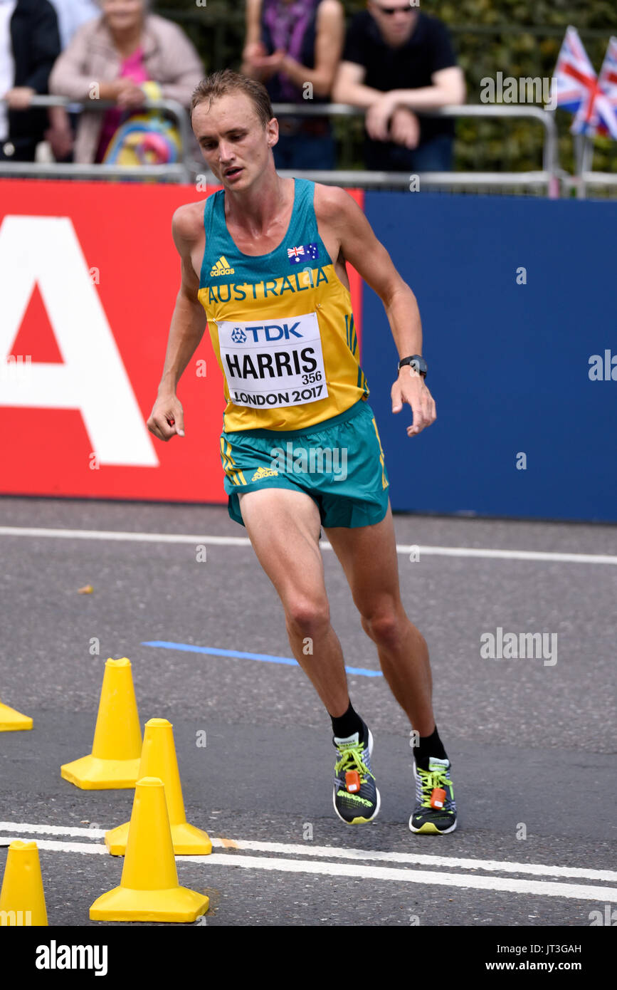 Josh Harris of Australia running in the IAAF World Championships 2017 Marathon race in London, UK. Space for copy - Stock Image
