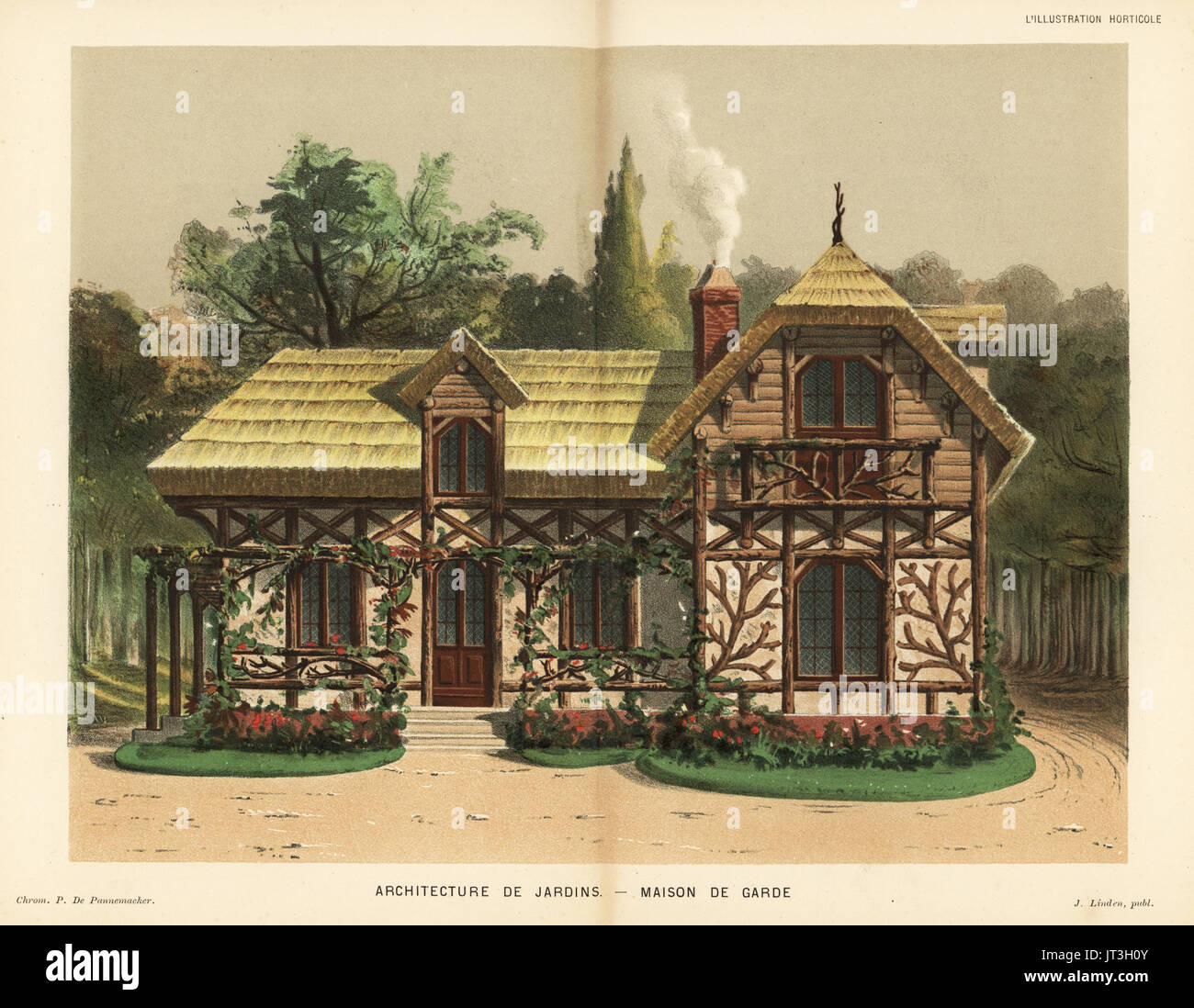 Garden architecture: guard house with rose trellis and thatched roof ...