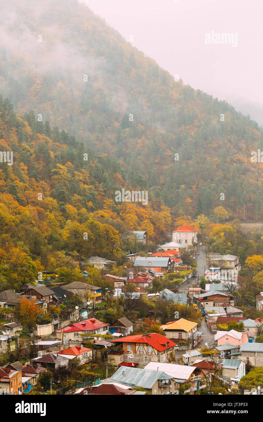 Borjomi, Samtskhe-Javakheti, Georgia - Aerial View Cityscape Of Borjomi  Resort City Autumn October Day. Borjomi Is A Resort Town In South-central Geo - Stock Image
