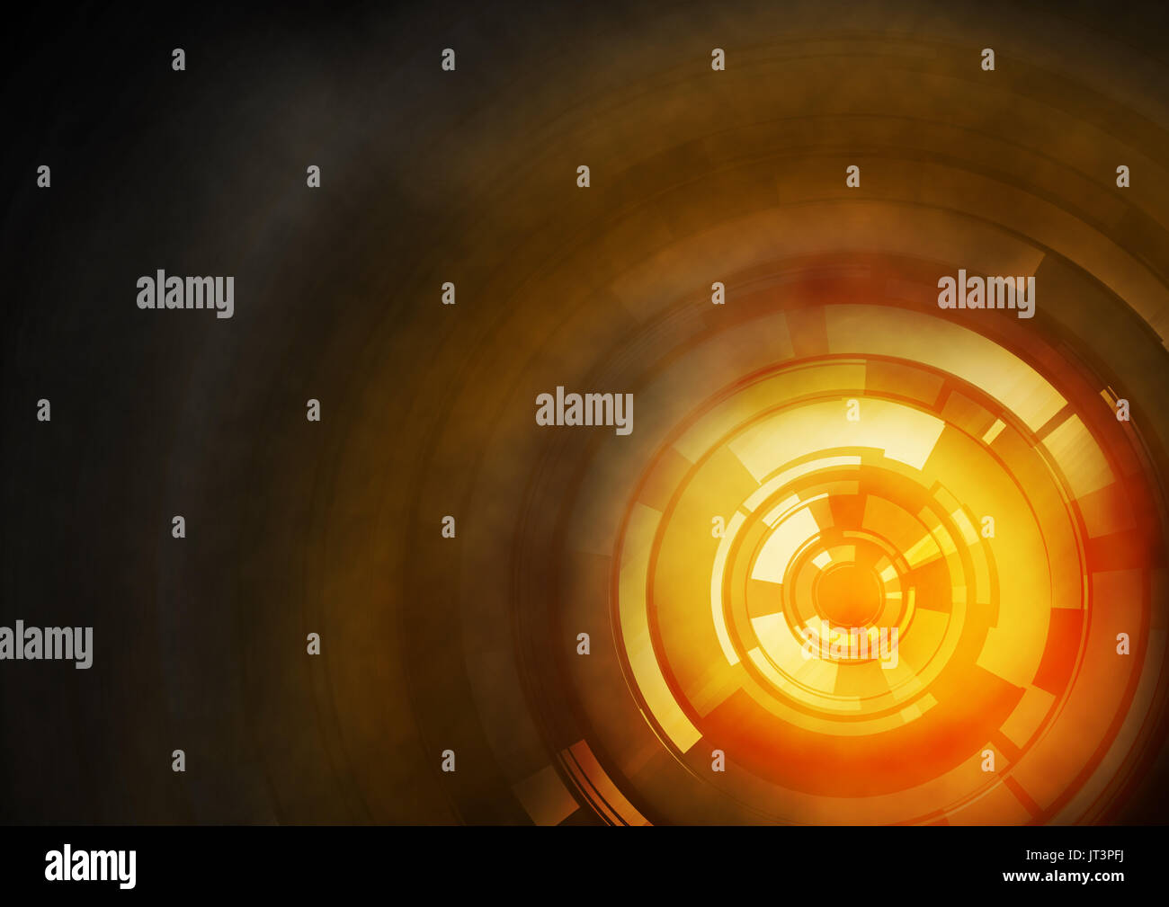 Orange abstract background with light circle looks like a target. - Stock Image
