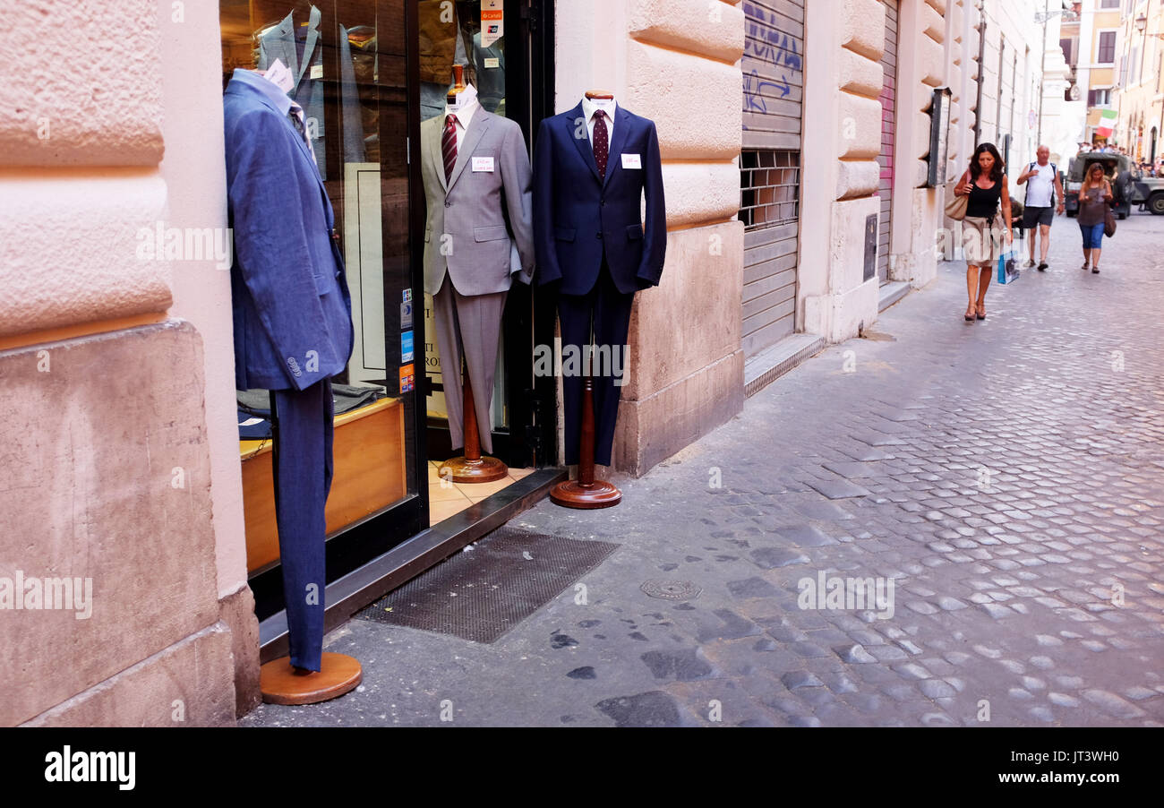 Rome Italy July 2017 - Mens Italian suits on display outside store - Stock Image