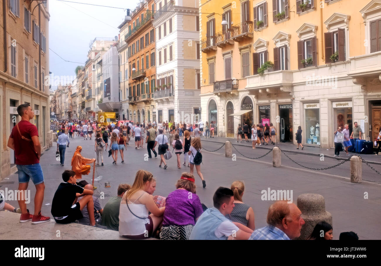 Rome Italy July 2017 - The busy shopping street of Via del Corso in the Tridente district - Stock Image