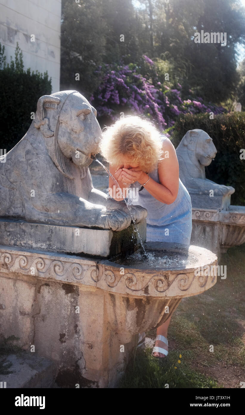 Rome Italy July 2017 - Drinking water at Villa Borghese gardens park - Stock Image