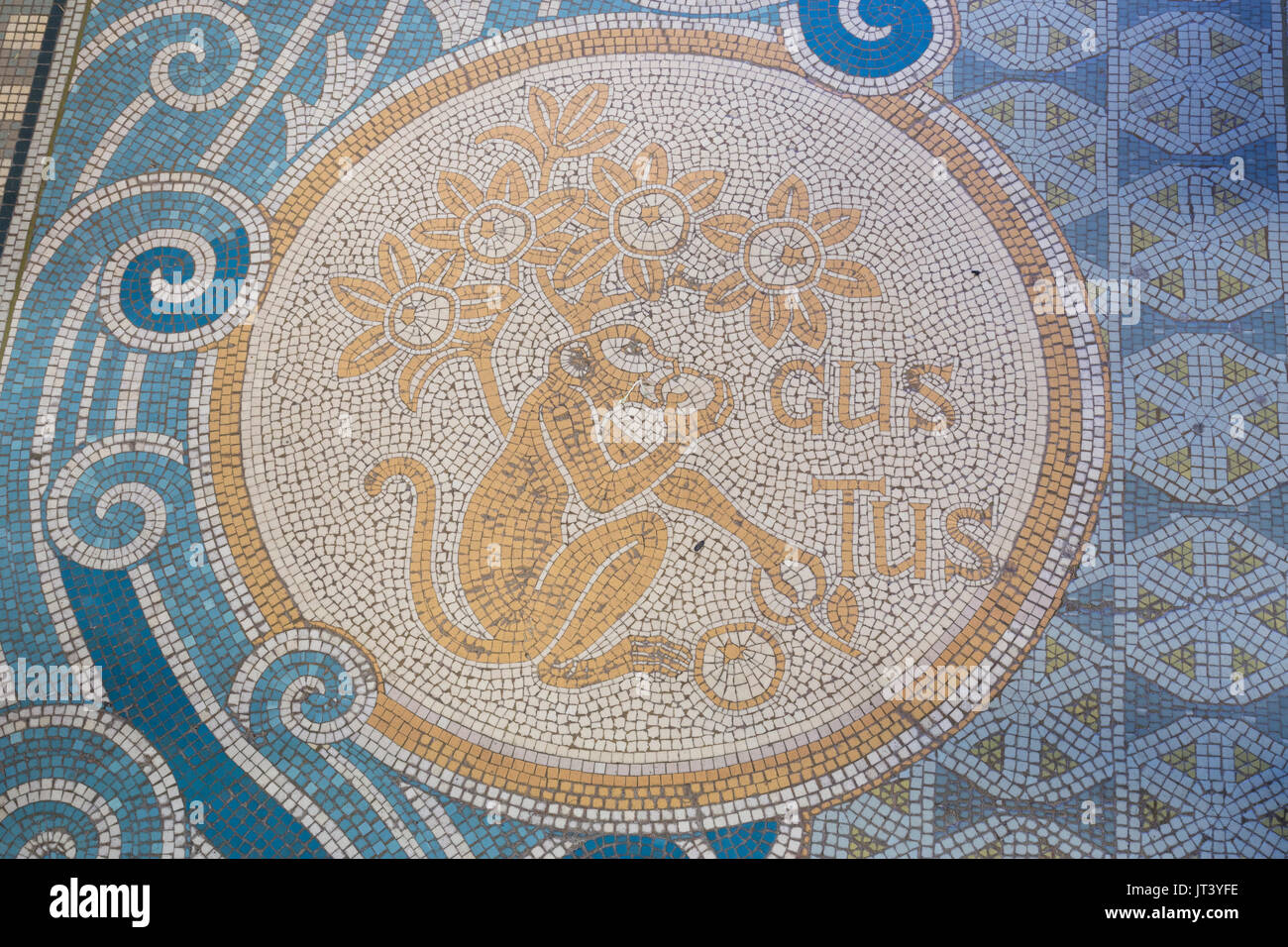 France, Loiret, Briare, Saint-Etienne Church, mosaic floor made with Briare enamel designed by Eugène Grasset representing the 5 senses, here the tast - Stock Image