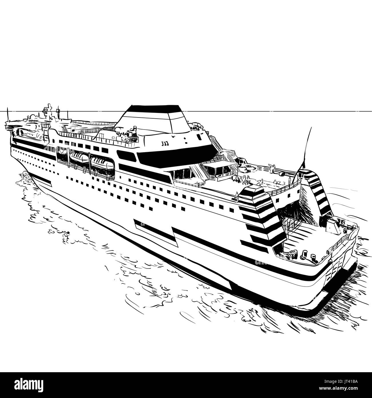 Hand drawn sketch of Ferry, Black and White simple line Vector Illustration for Coloring Book - Line Drawn Vector - Stock Image