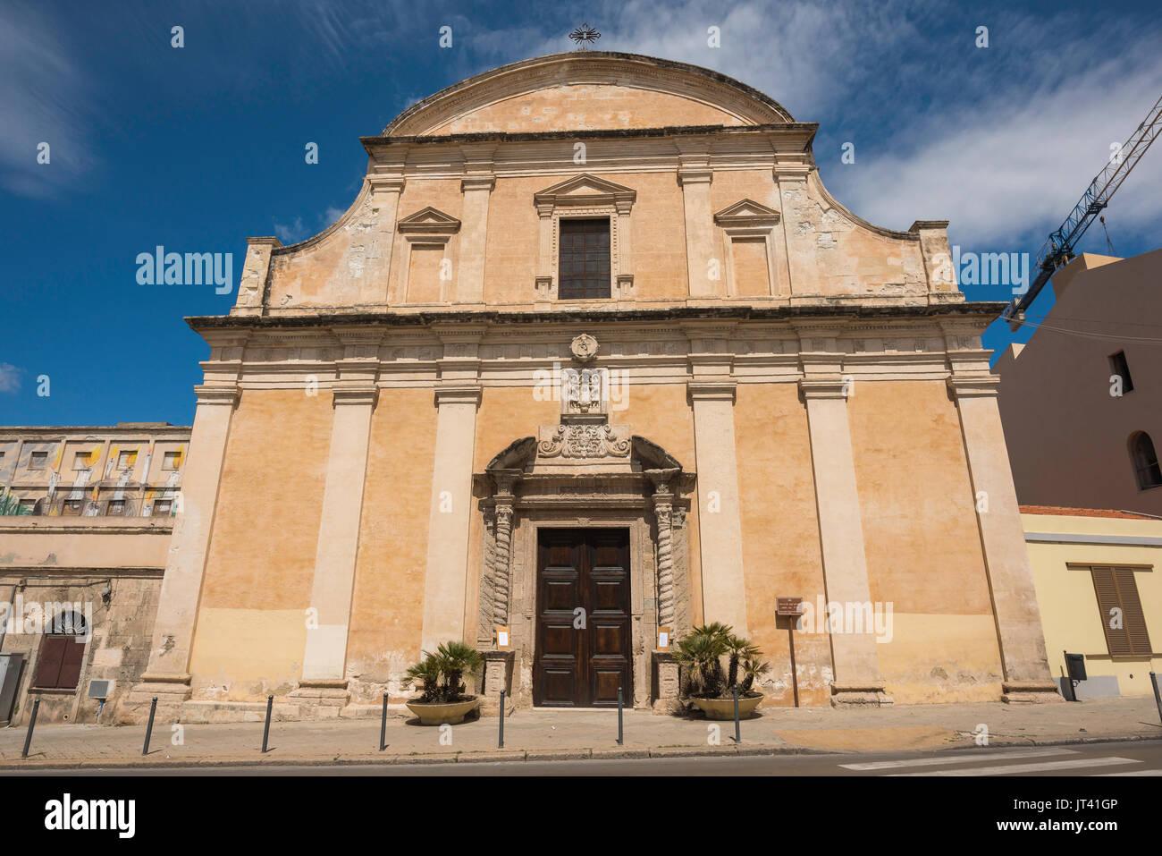 Sassari Sardinia, the Baroque facade of the Church of Sant'Antonio Abate in Sassari, Sardinia. - Stock Image