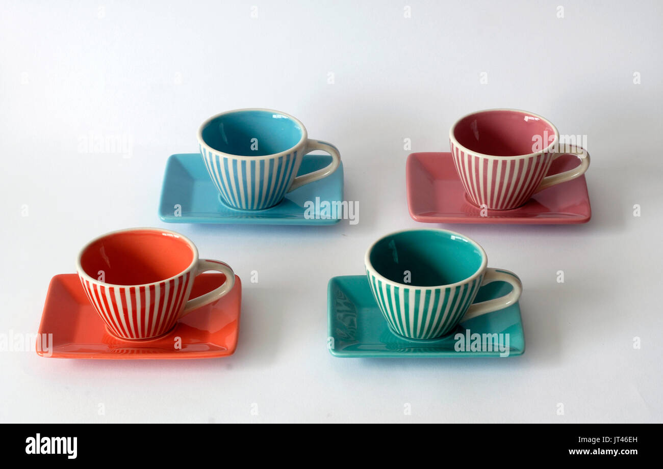 Set of four coffee cups. Made by LBVYR, Laboratoire de Biologie Vegetale Yves Rocher. Made in France - Stock Image