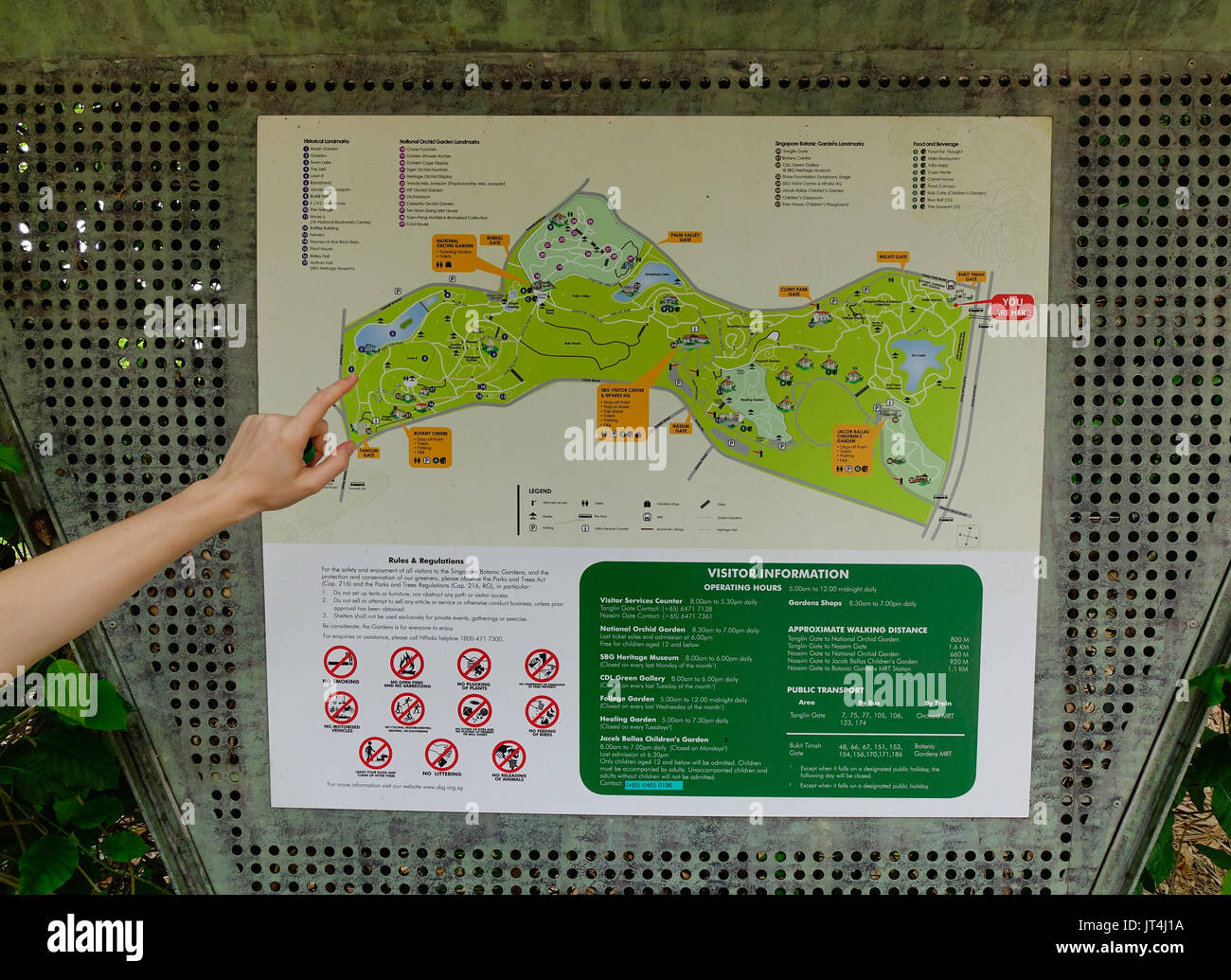 Singapore - Dec 14, 2015. A hand on the map of city park in Singapore. Singapore, referred to as the Lion City, the Garden City, is a sovereign city-s - Stock Image