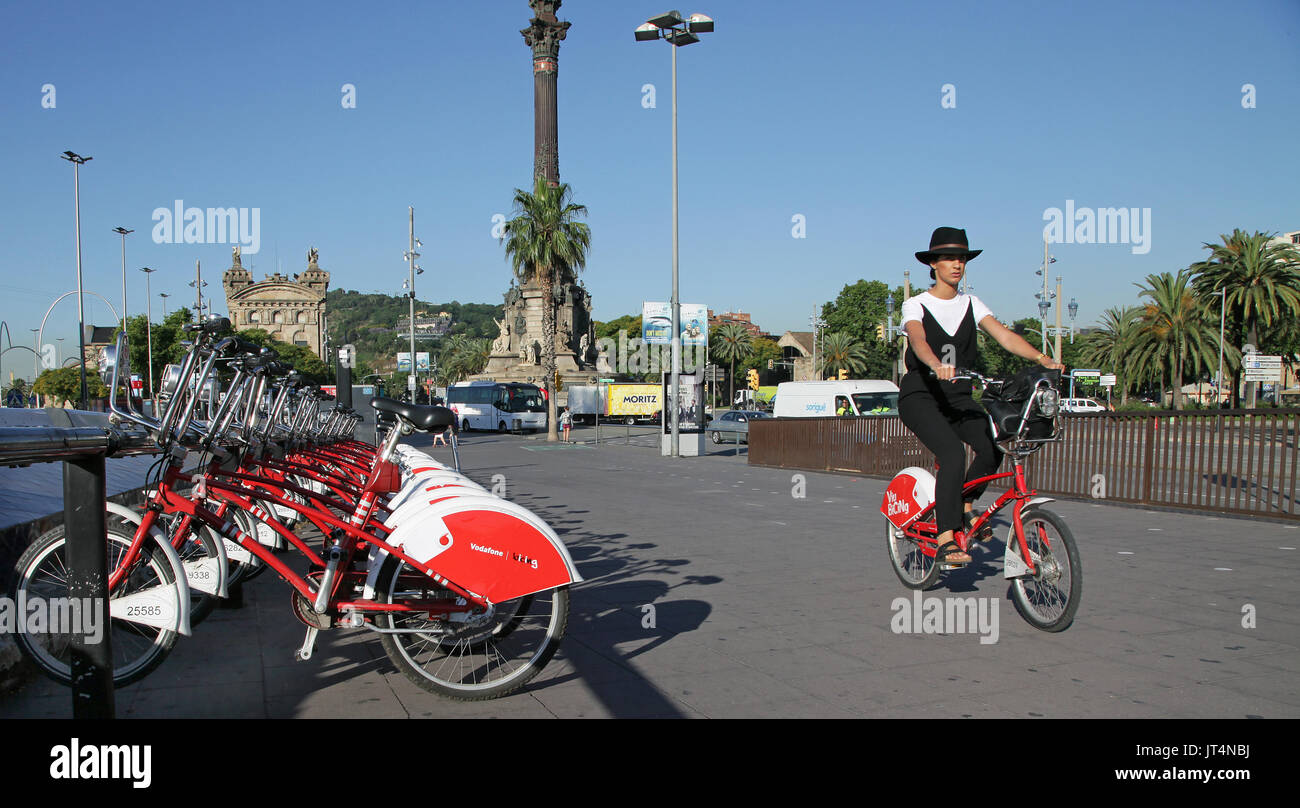Bicing.Barcelona city bikes.Barcelona's public bicycle borrowing scheme for permanent residents only.Tourists cannot rent city bikes - Stock Image