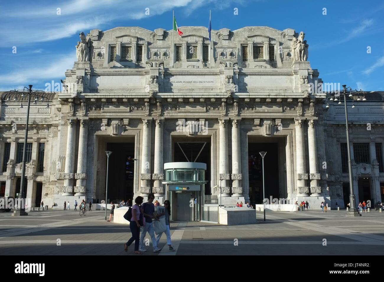Exterior facade of Central railway station, Milan, Lombardy, Italy, July 2017Stock Photo