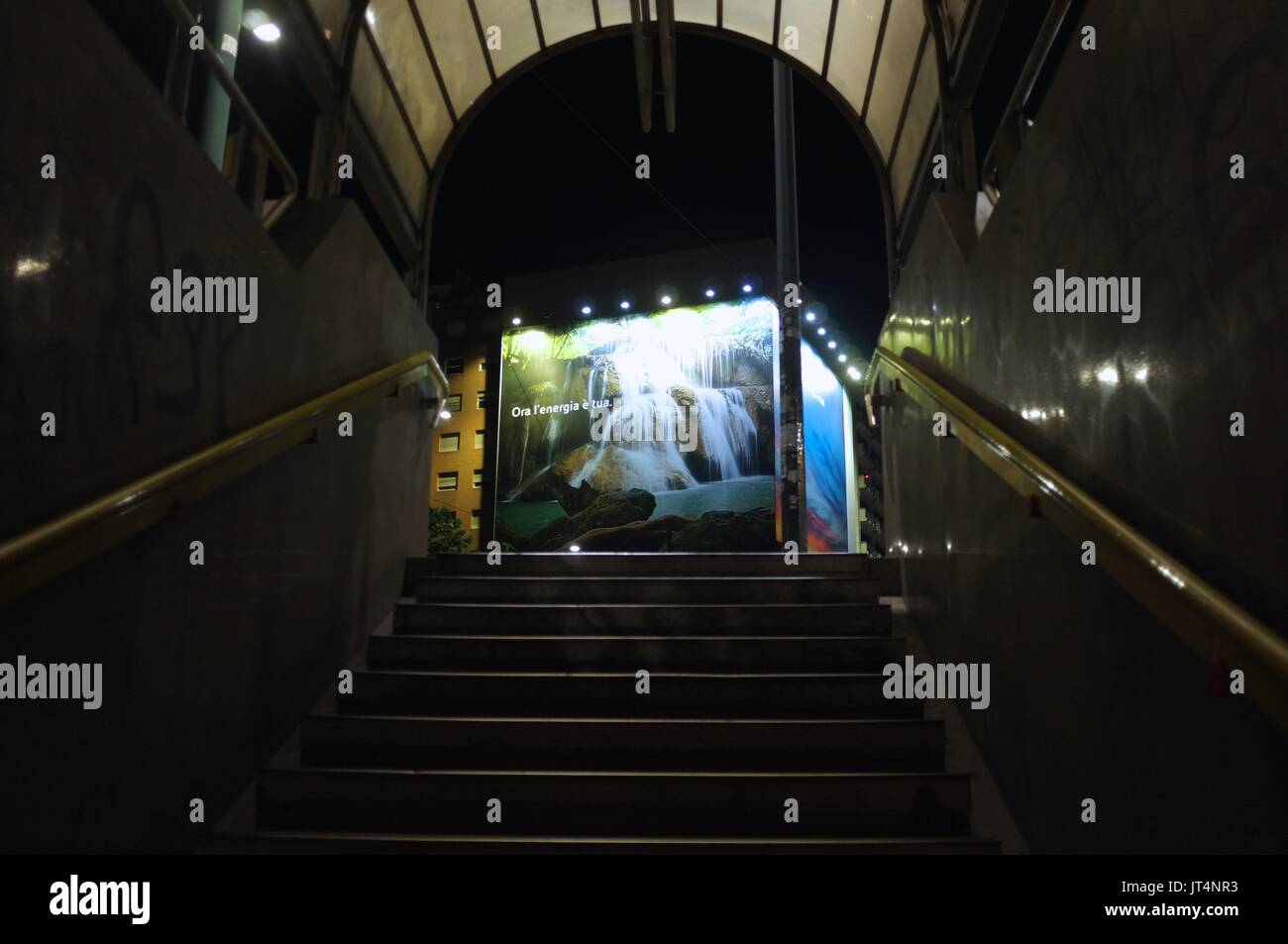 A billboard viewed from a metro station in Milan, Lombardy, Italy, July 2017Stock Photo