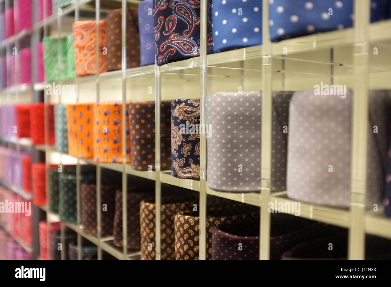 Italian ties at a shop in Galleria Vittorio Emanuele II, Milan, Lombardy, Italy, July 2017 Stock Photo