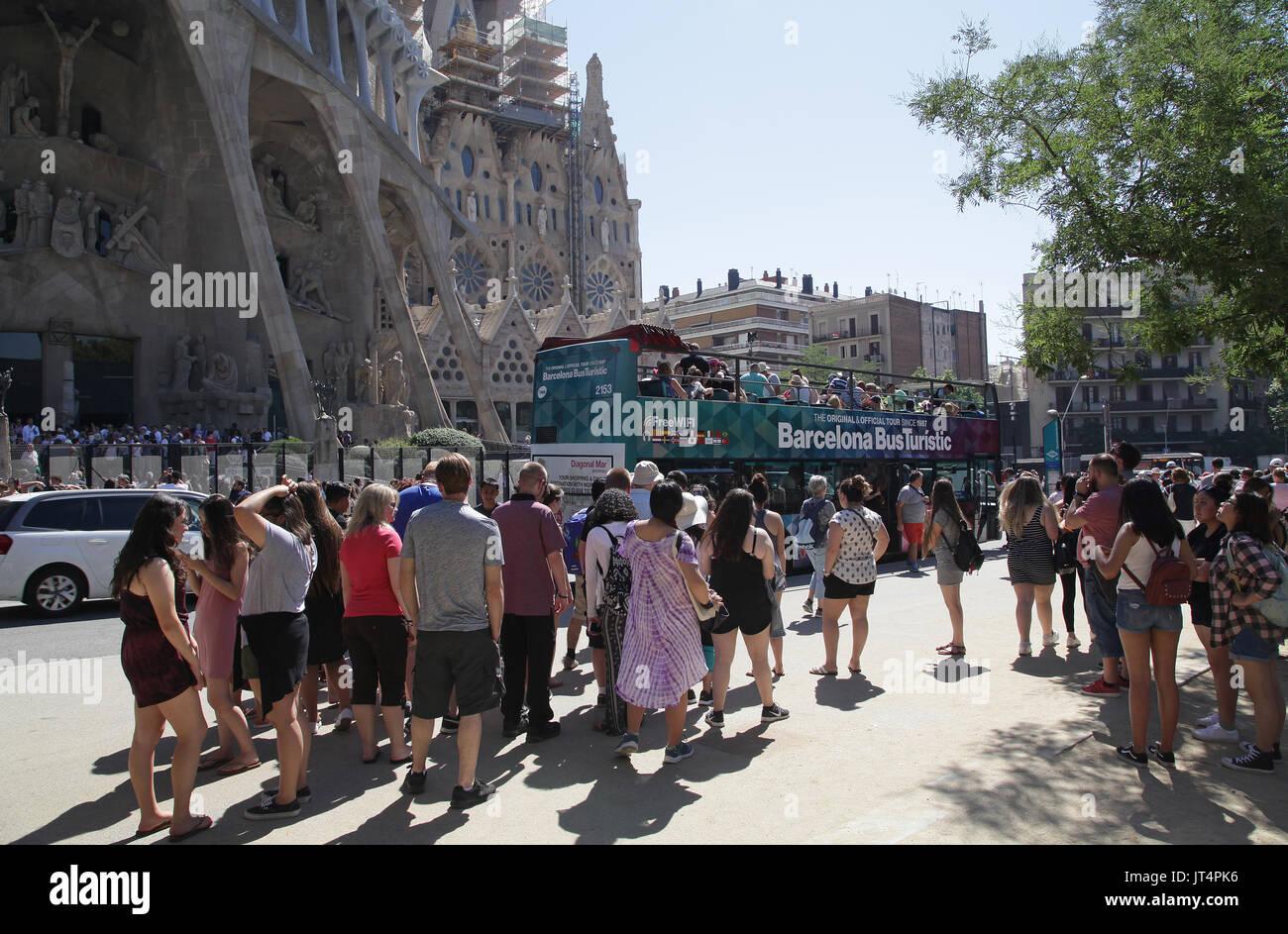 Barcelona mass tourism at La Sagrada Familia.Spain - Stock Image