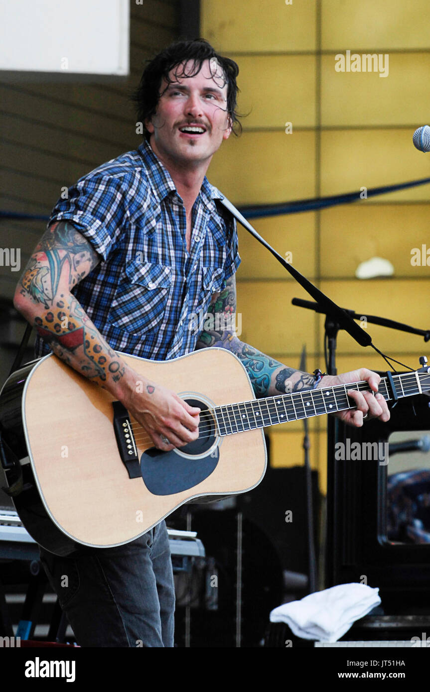 Butch Walker performing 2008 Lollapalooza Music Festival Grant Park Chicago. - Stock Image