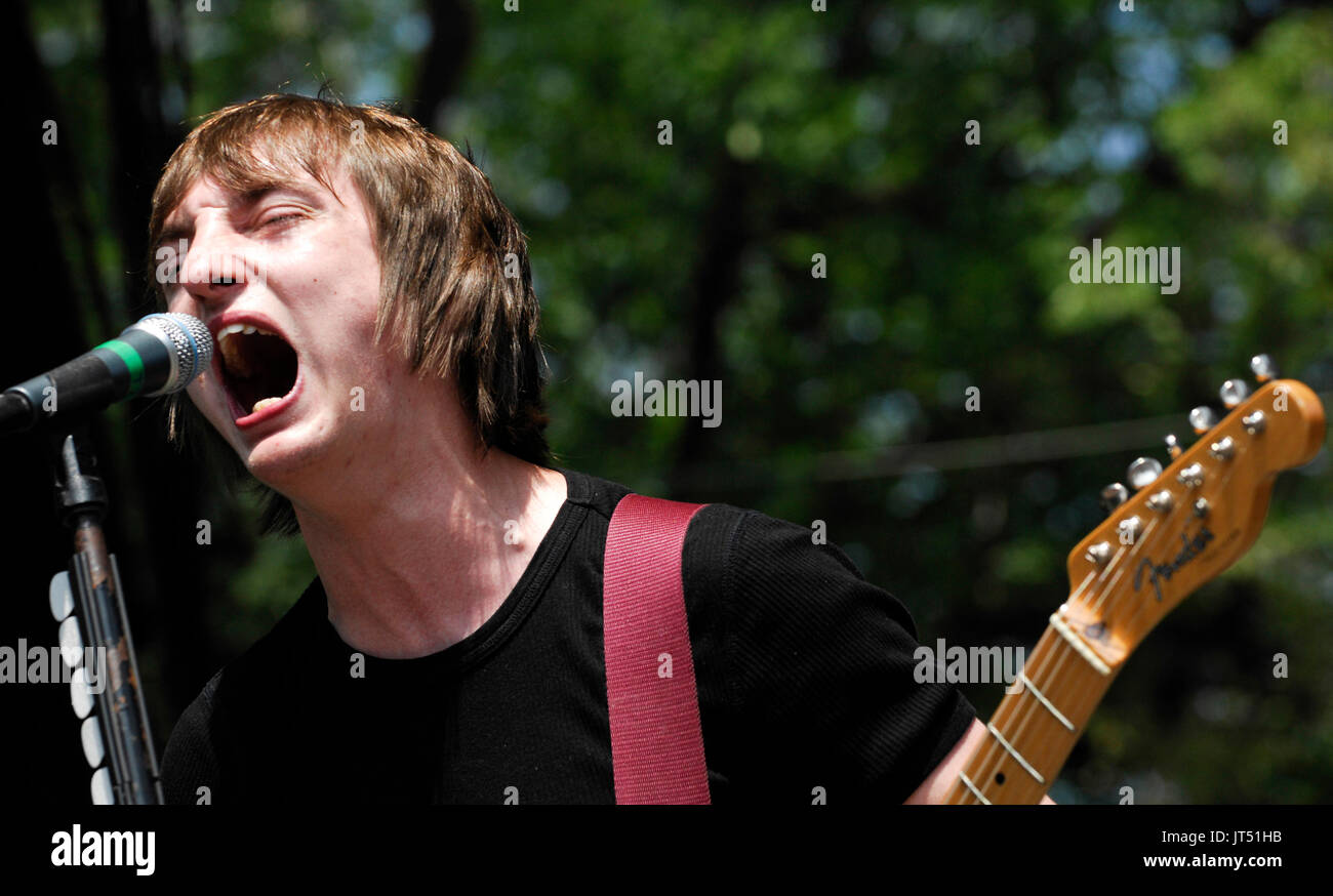 Tom Clarke Enemy UK performing 2008 Lollapalooza Music Festival Grant Park Chicago. - Stock Image