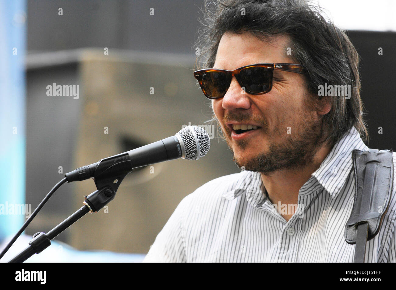 Jeff Tweedy Wilco performing 2008 Lollapalooza Music Festival Grant Park Chicago. - Stock Image