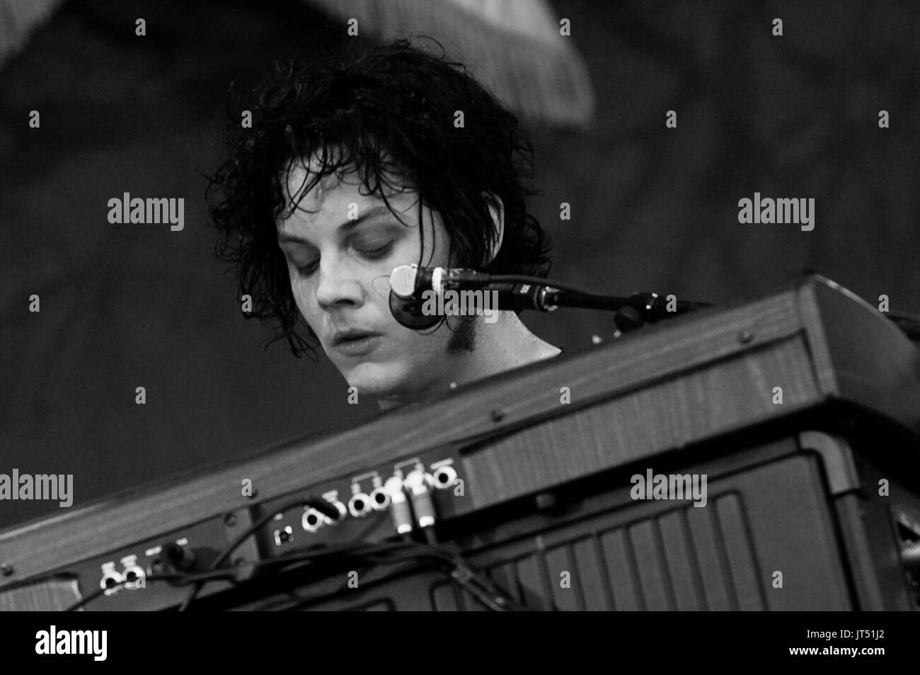 Jack White Raconteurs performing 2008 Lollapalooza Music Festival Grant Park Chicago. Stock Photo