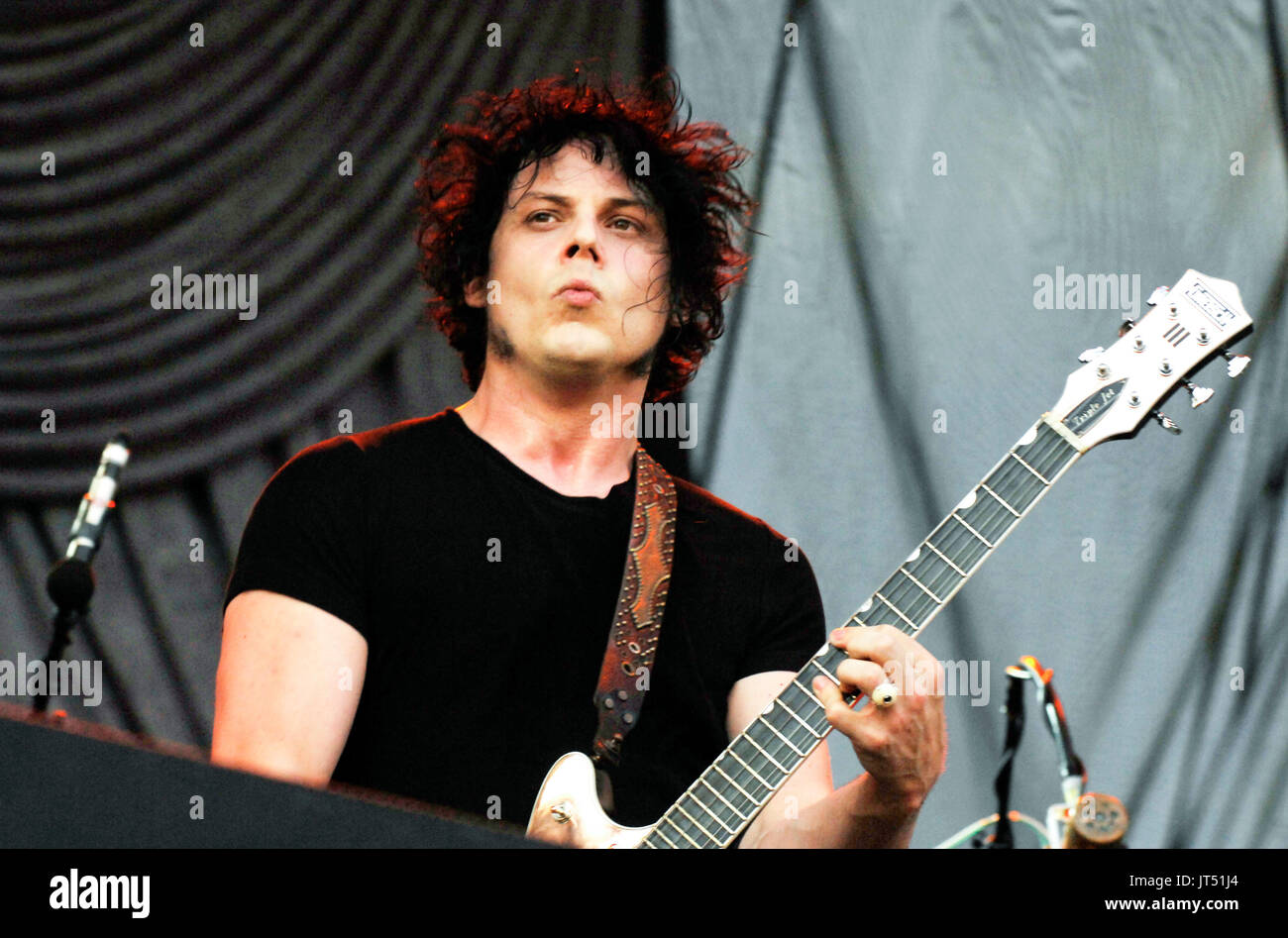 The Raconteurs performing 2008 Lollapalooza Music Festival Grant Park Chicago. - Stock Image