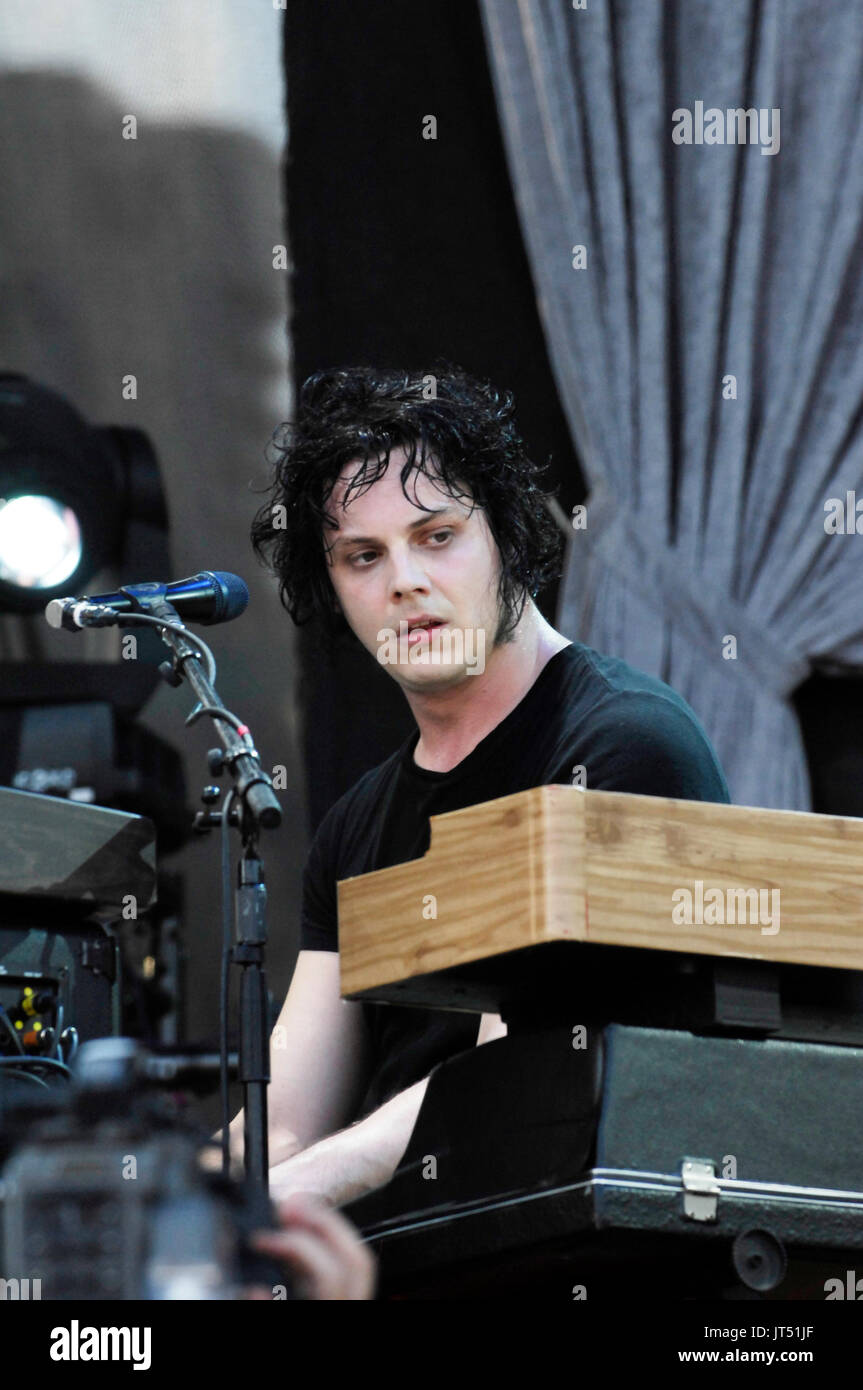 Jack White Raconteurs performing 2008 Lollapalooza Music Festival Grant Park Chicago. - Stock Image