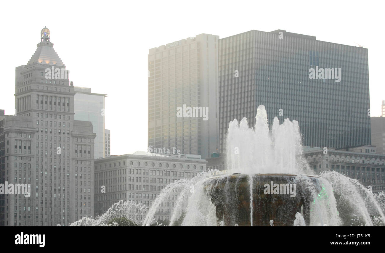 Lollapalooza Music Festival view from Buckingham Fountain Grant Park middle Chicago. - Stock Image