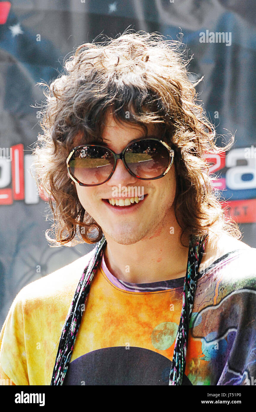 Andrew VanWyngarden MGMT press conference 2008 Lollapalooza Music Festival Grant Park Chicago. - Stock Image
