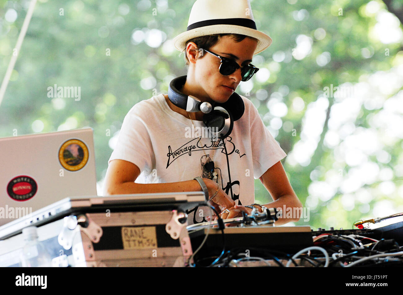 DJ Samantha Ronson performs 2008 Lollapalooza Music Festival Grant Park Chicago. - Stock Image