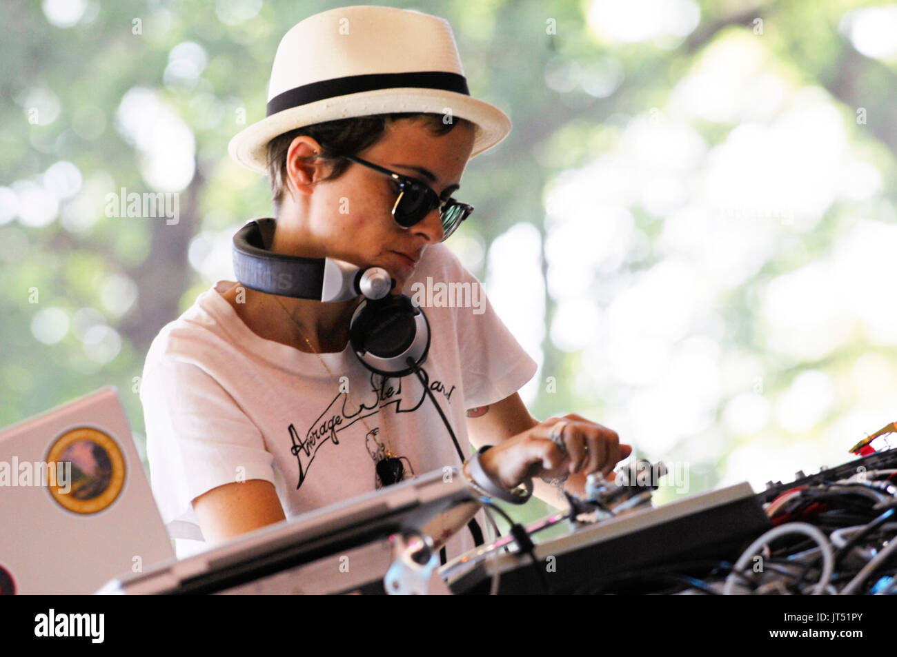 DJ Samantha Ronson performs 2008 Lollapalooza Music Festival Grant Park Chicago. - Stock Image