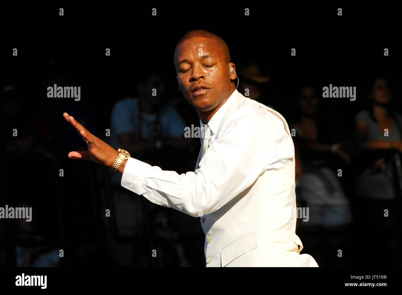 Lupe Fiasco performs 2008 Lollapalooza Music Festival Grant Park Chicago. - Stock Image