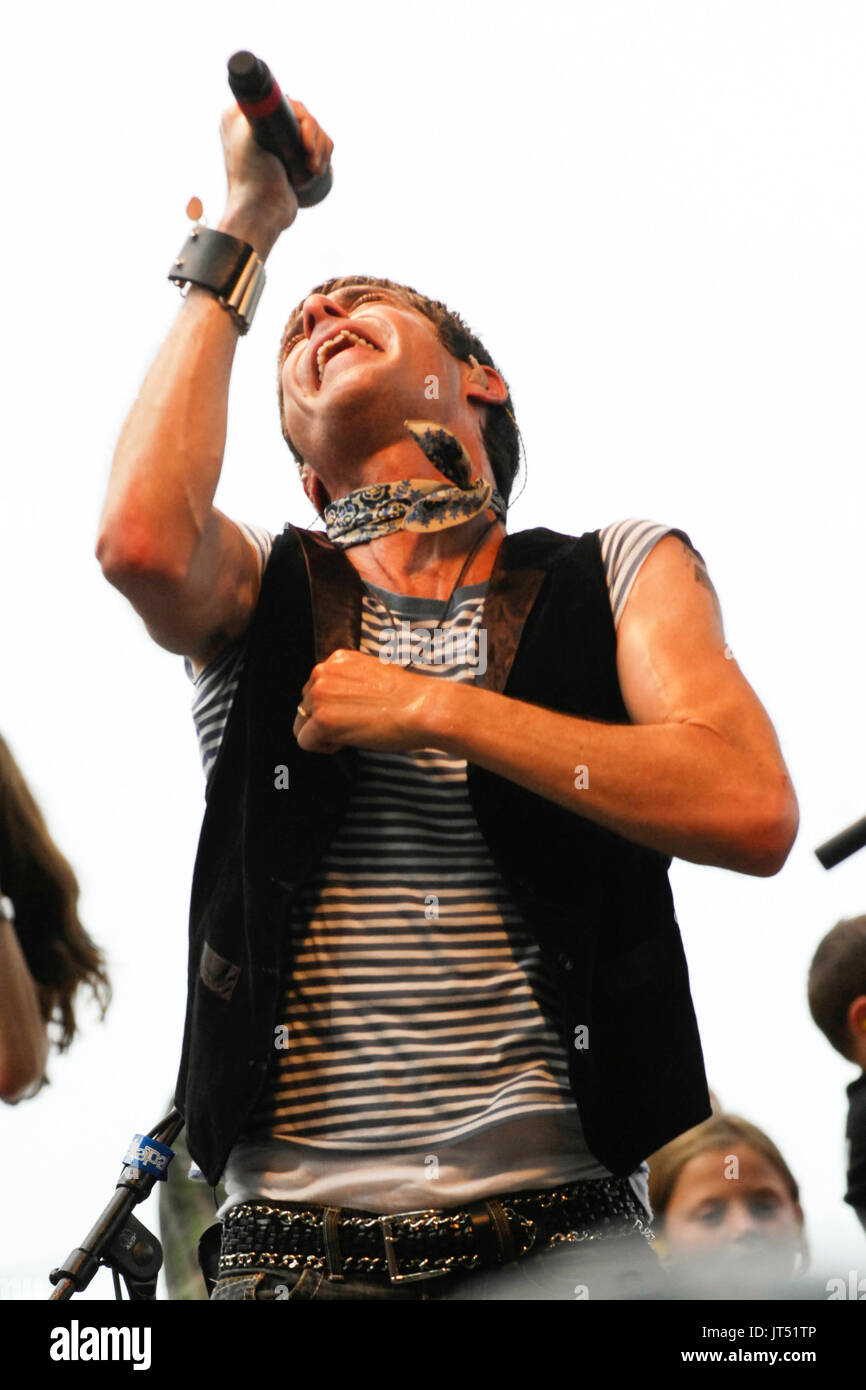 Perry Farrell performing 2008 Lollapalooza Music Festival Grant Park Chicago. - Stock Image