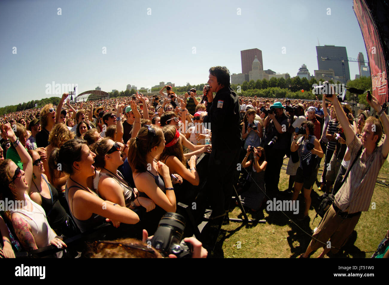 Tim DeLaughter Polyphonic Spree perform Lollapalooza Grant Park Chicago. - Stock Image