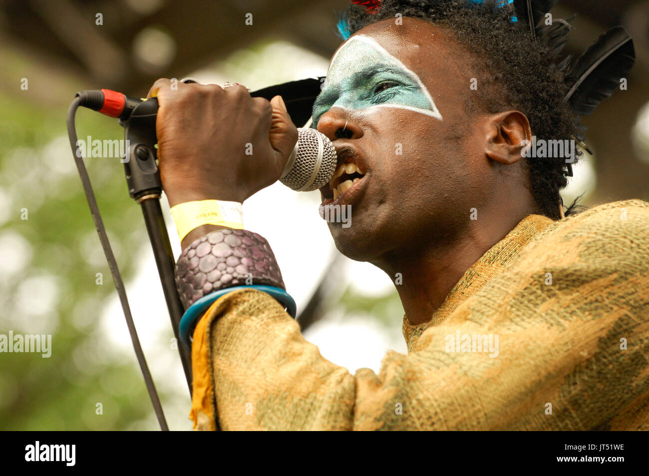 Saul Williams performing 2008 Lollapalooza Music Festival Grant Park Chicago. - Stock Image