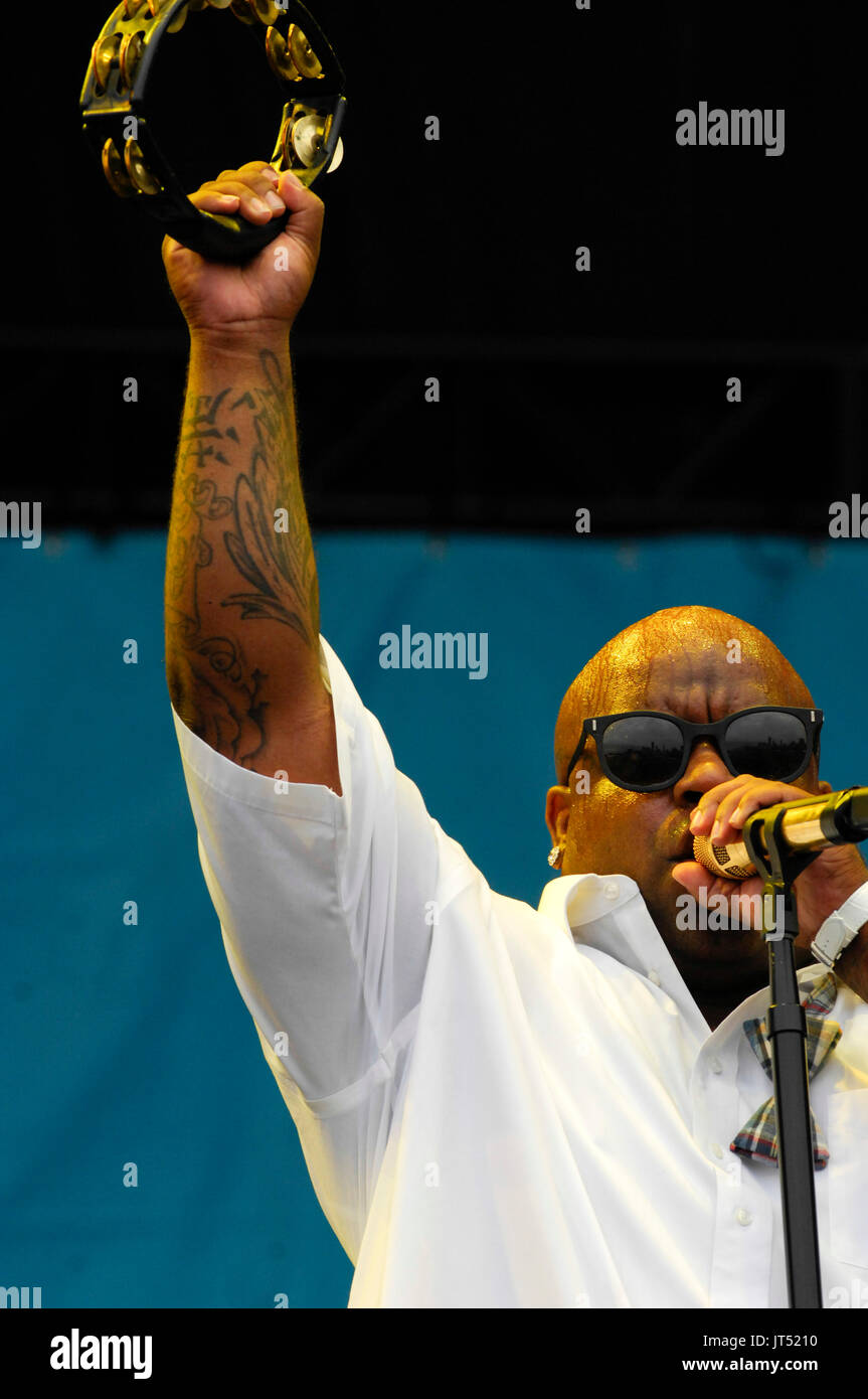 Cee-Lo Gnarls Barkley performing 2008 Lollapalooza Music Festival Grant Park Chicago. - Stock Image