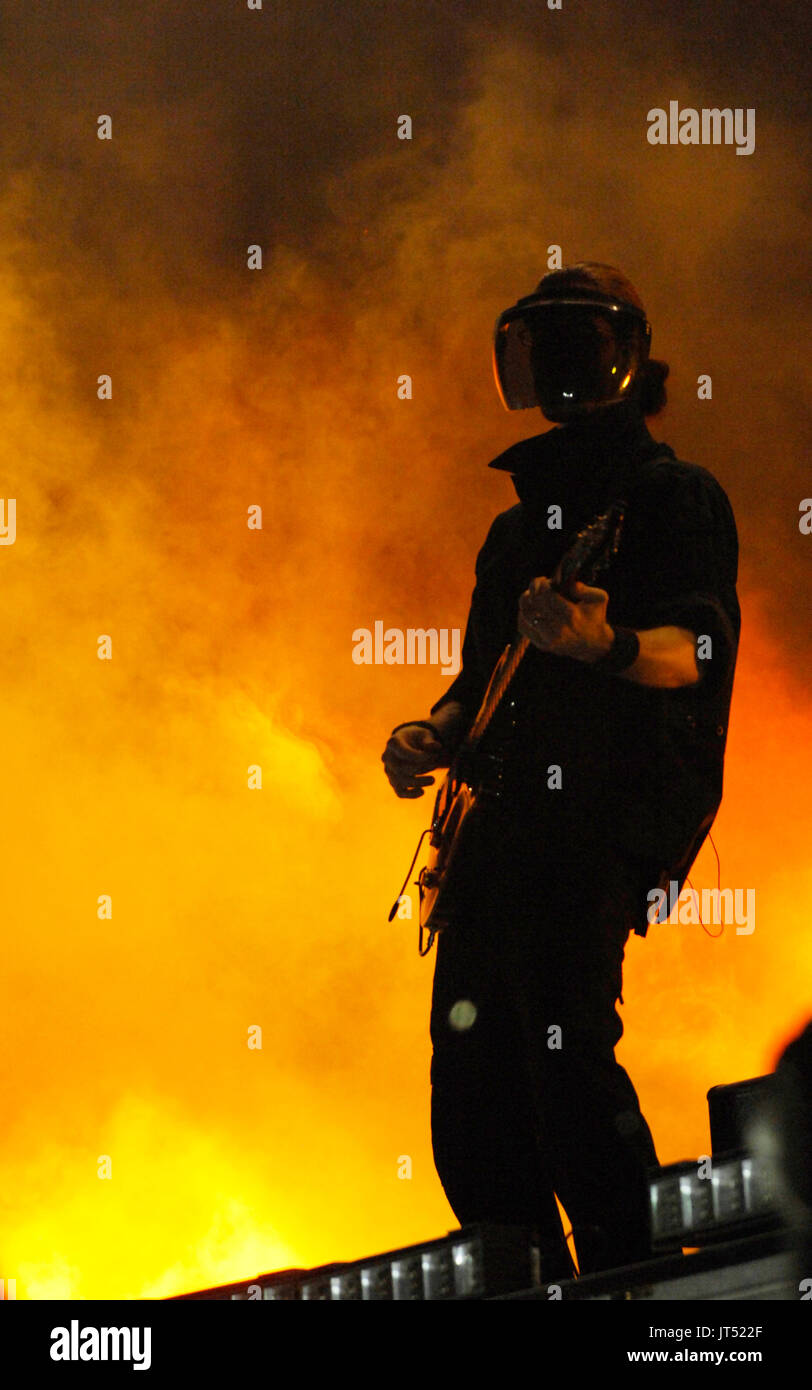 Kanye West guitarist performing 2008 Lollapalooza Music Festival Grant Park Chicago. - Stock Image