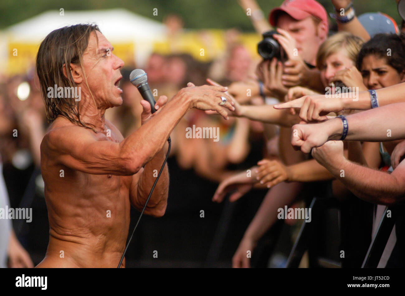 Iggy Pop Iggy Stooges performs 2007 Lollapalooza Chicago,Il - Stock Image