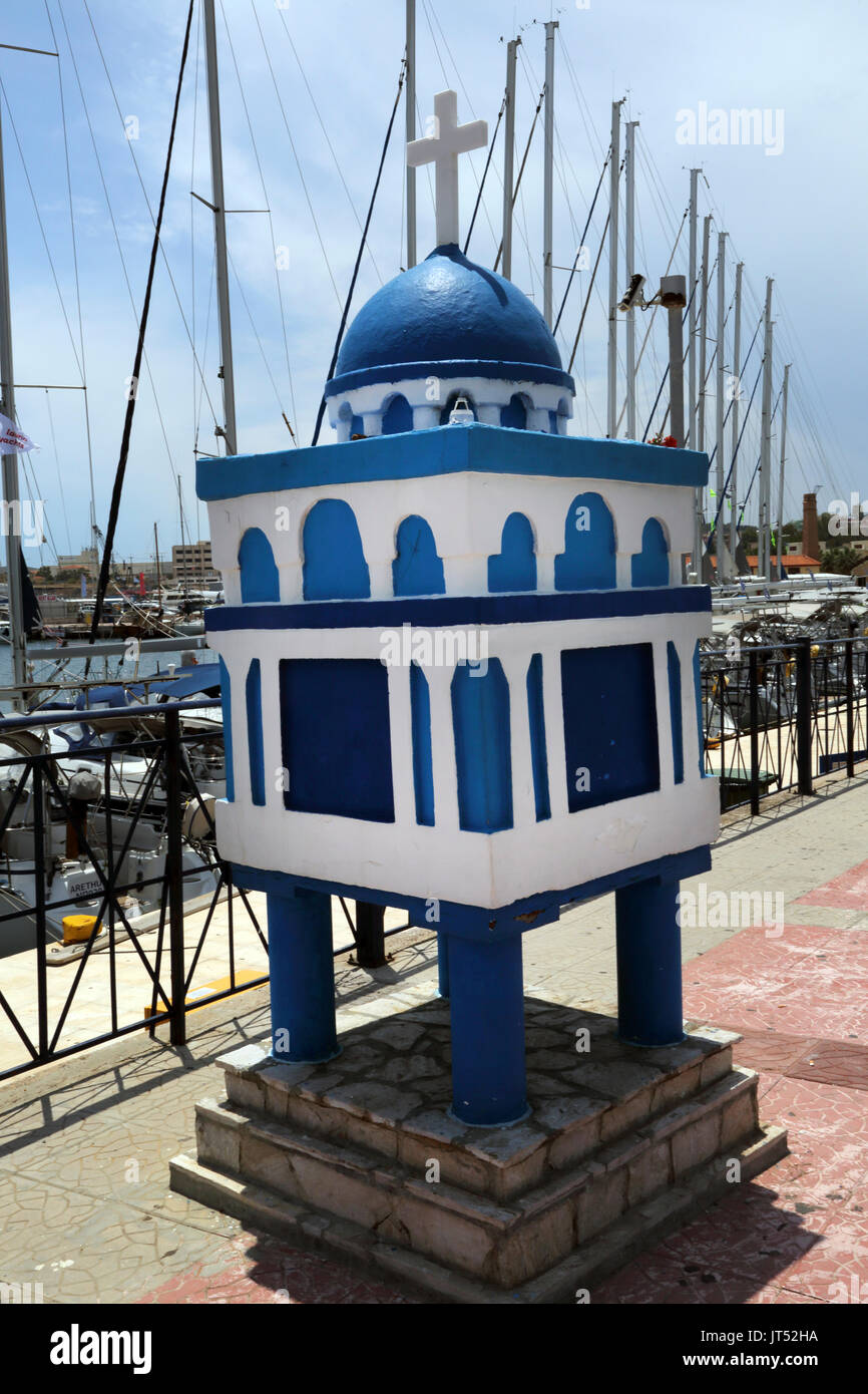 Lavrio Port Attica Greece Cross On Top Of A Shrine Dedicated To Saint Paraskevi Healer Of The Blind By Harbour - Stock Image