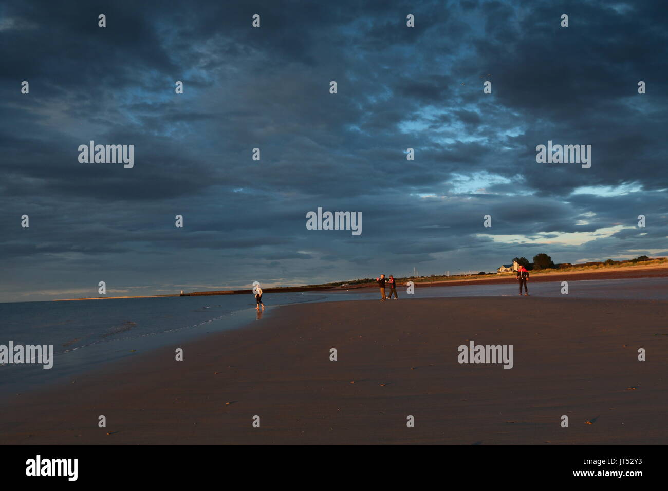 Nairn beach at sunset, Scotland - Stock Image