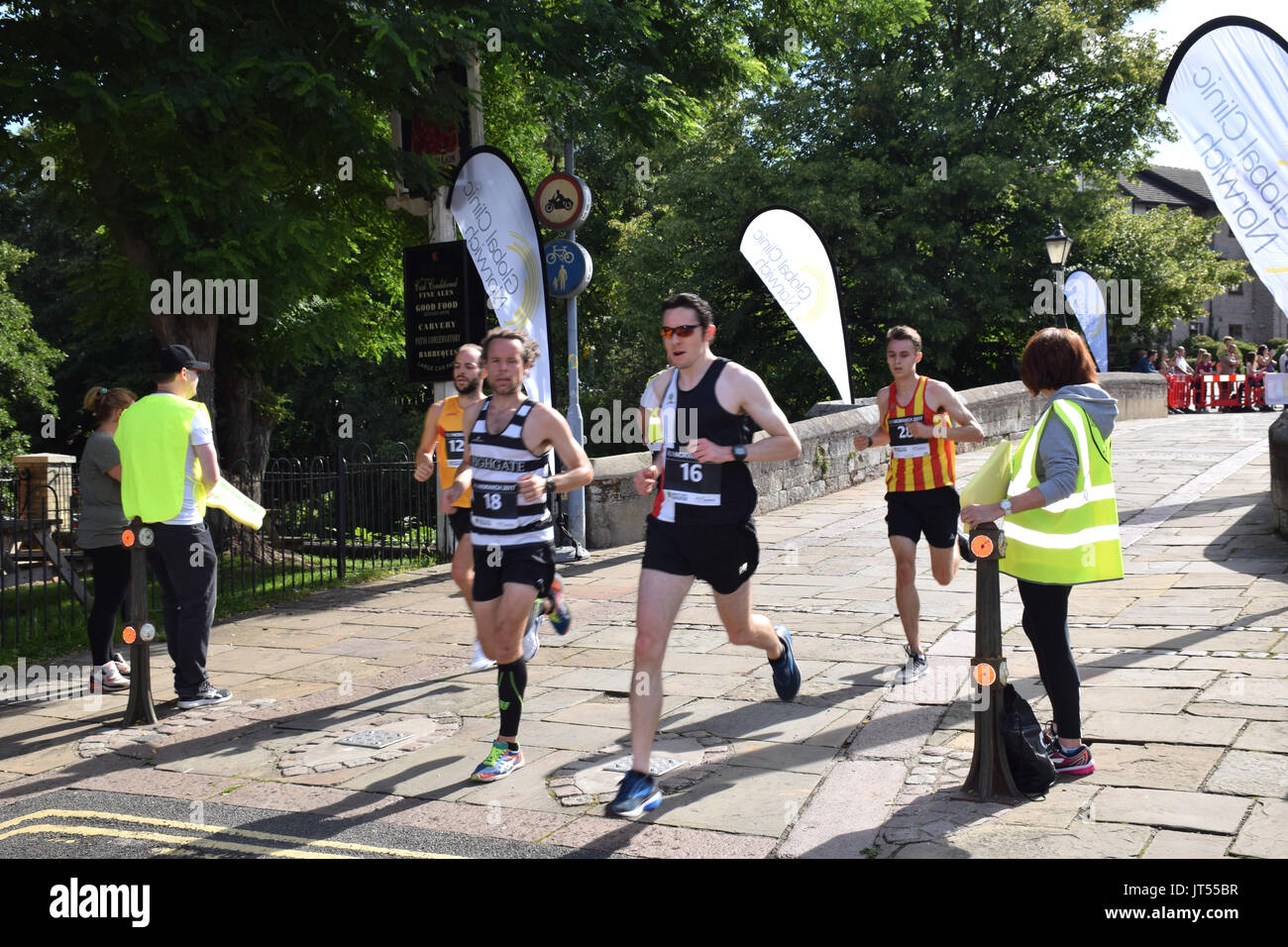 Norwich UK. 6th August 2017. 6000 people took part in the annual Run Norwich 10k road race organised by Norwich City FC Community Sports Foundation. - Stock Image
