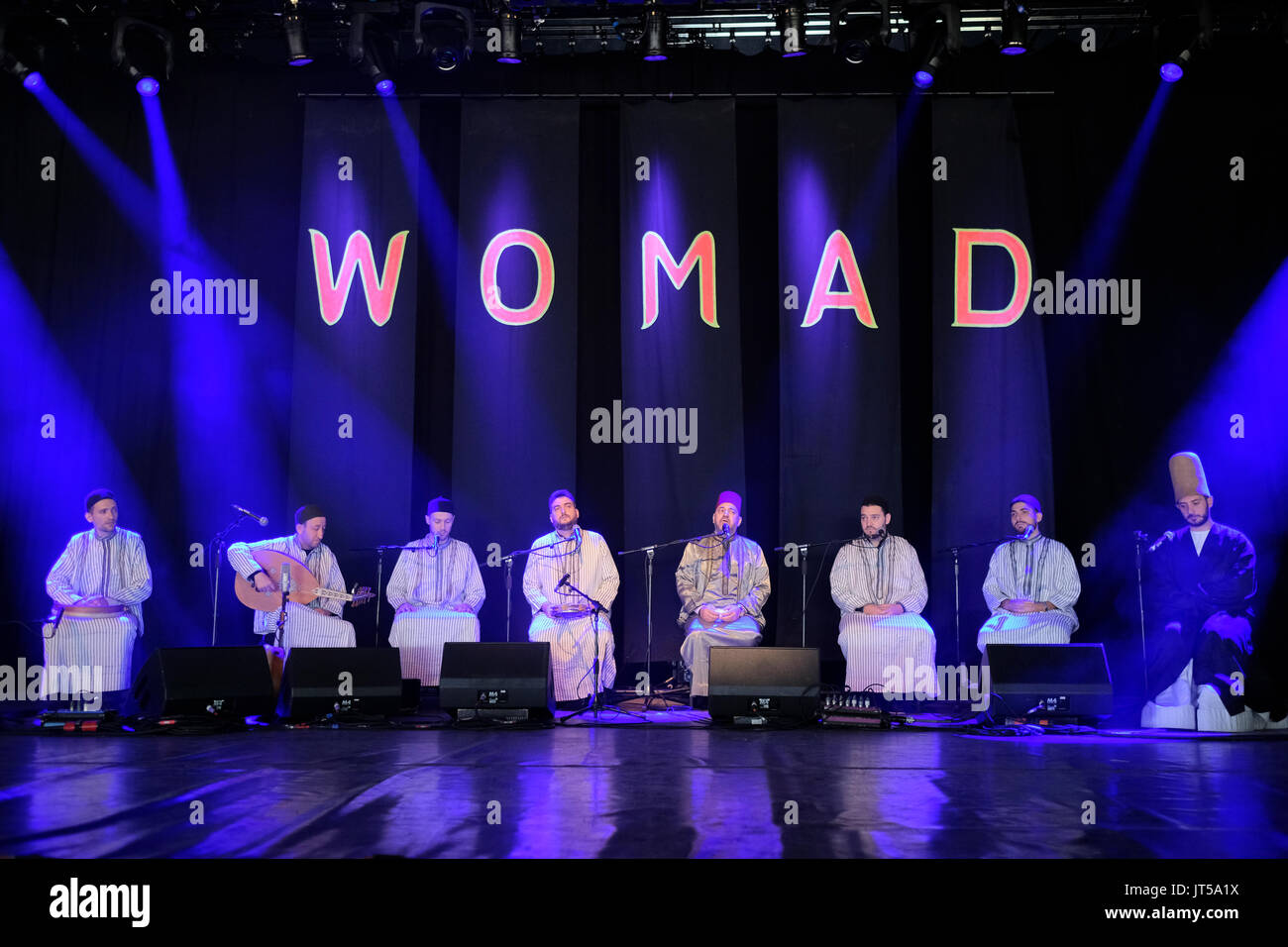 Noureddine Kourchid and the Whirling Dervishes of Damascus performing at the WOMAD Festival, Charlton Park, Malmesbury, Wiltshire, England, July 30, 2 - Stock Image