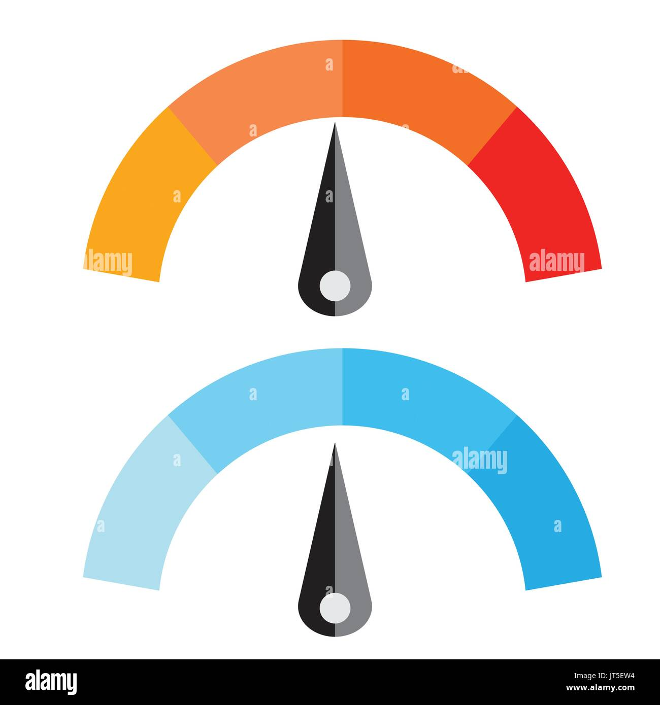 Vector Illustration of Temperature Meter with warm and cool levels, flat style, EPS10. - Stock Image