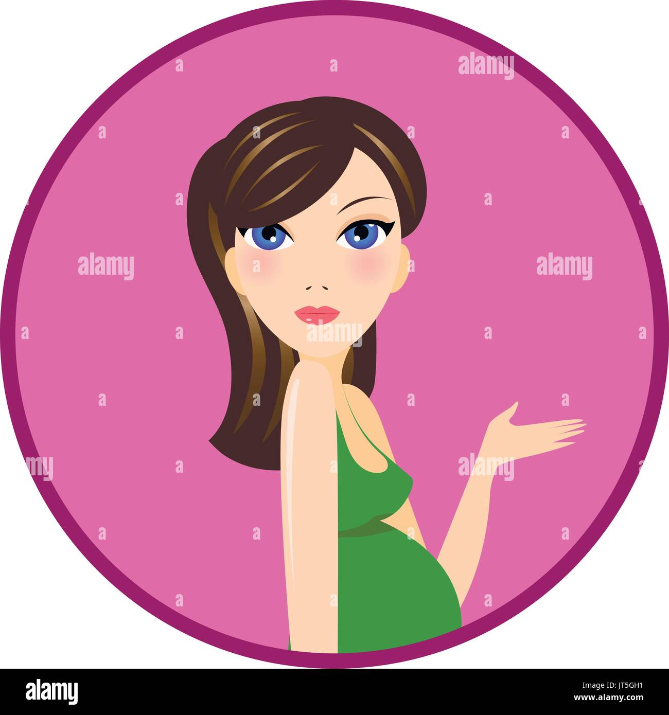 Pregnant woman in green dress vector portrait - Stock Vector