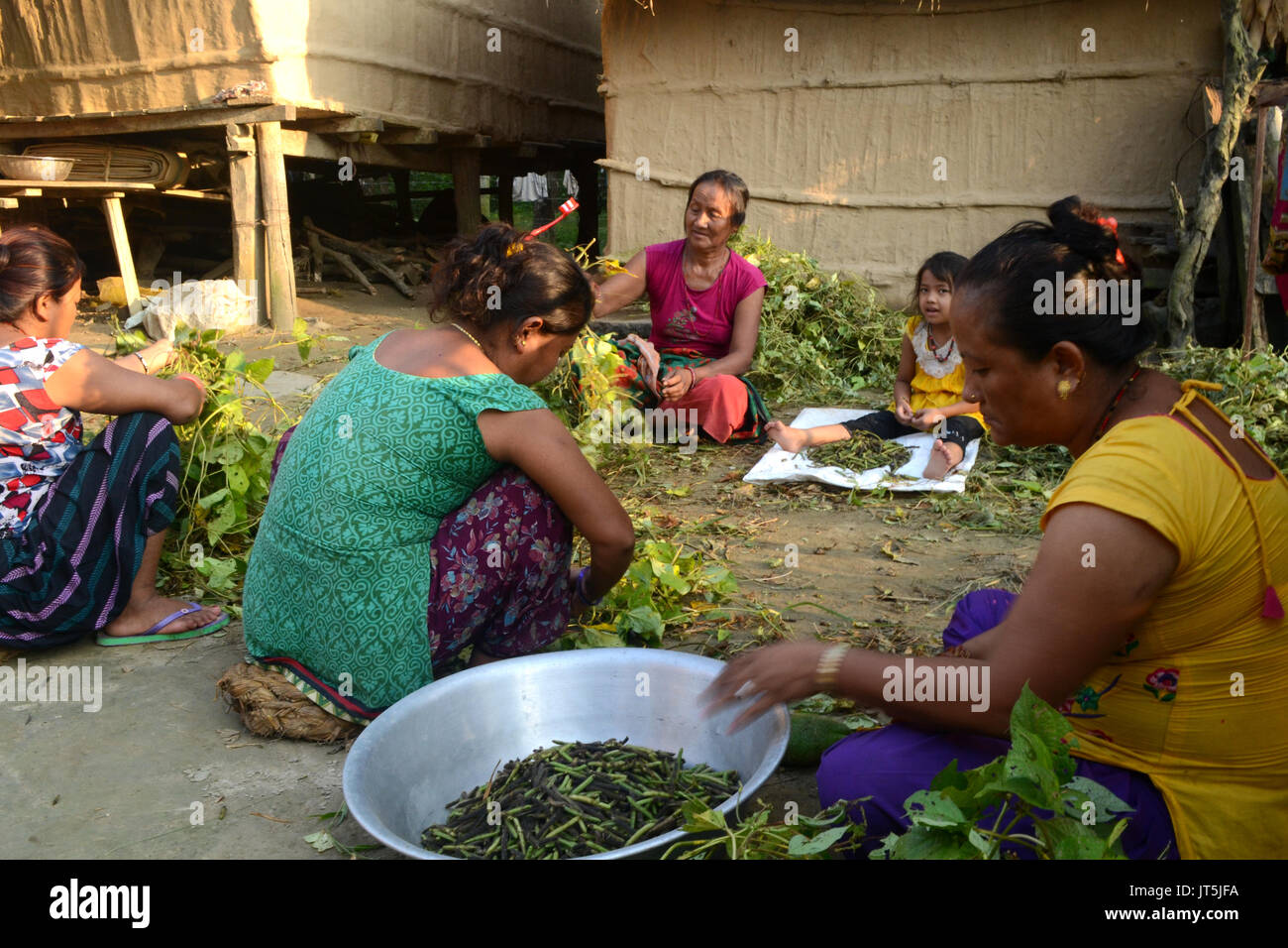 Food being prepared by villagers living within Chitwan National Park, Nepal - Stock Image