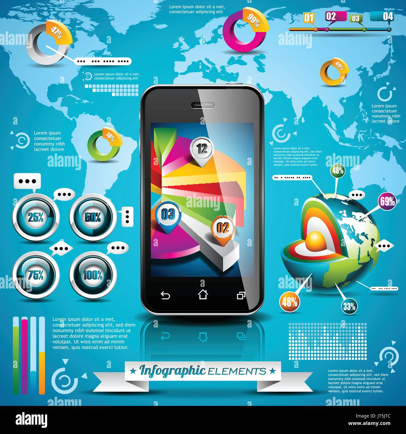 Vector design set of infographic elements world map and information vector design set of infographic elements world map and information graphics on mobile phone eps 10 illustration gumiabroncs Gallery
