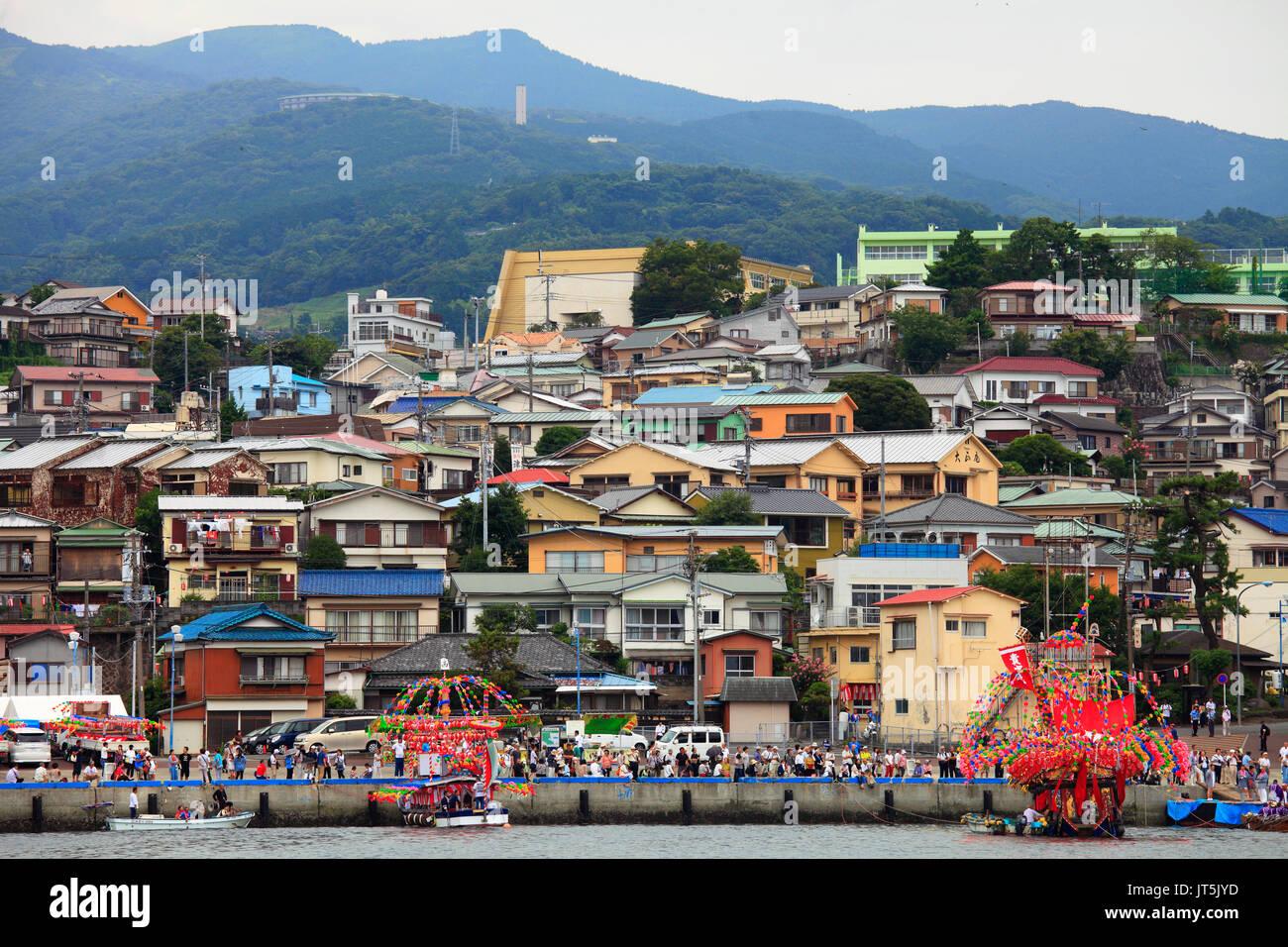 Japan, Kanagawa prefecture, Manazuru town, skyline, Kibune Matsuri, festival, - Stock Image