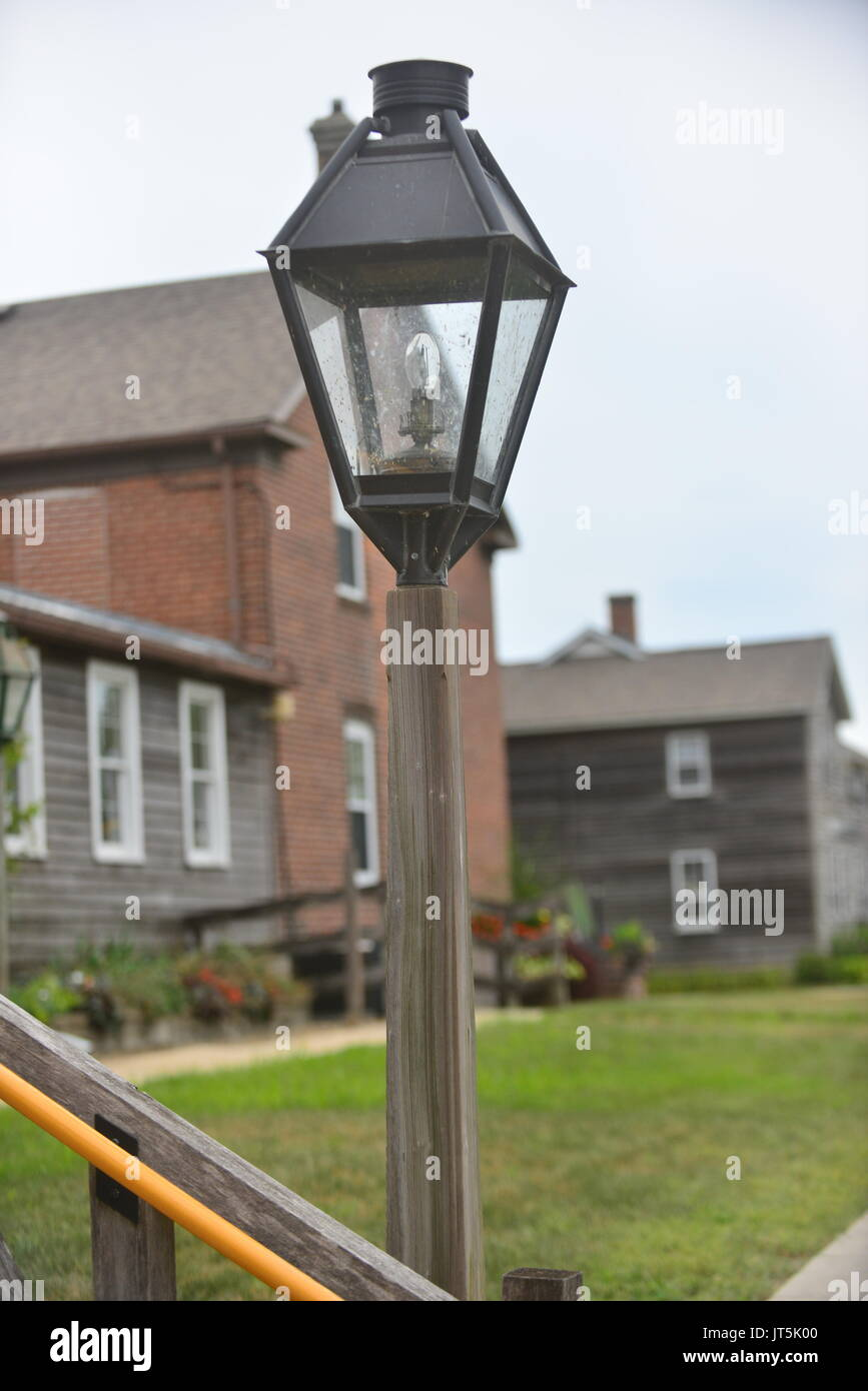 Wood lamp post stock photos wood lamp post stock images alamy amish community stock image aloadofball Image collections